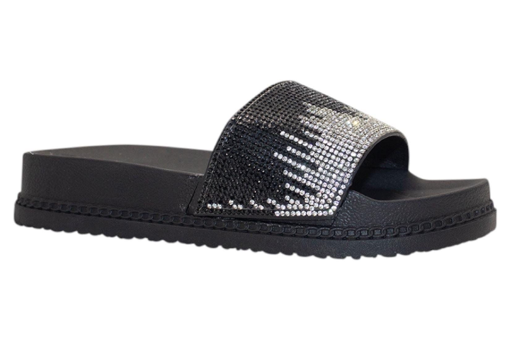 Womens-Sliders-Casual-Slippers-Mules-Ladies-Diamante-Flip-Flop-Sandals-Shoes thumbnail 42