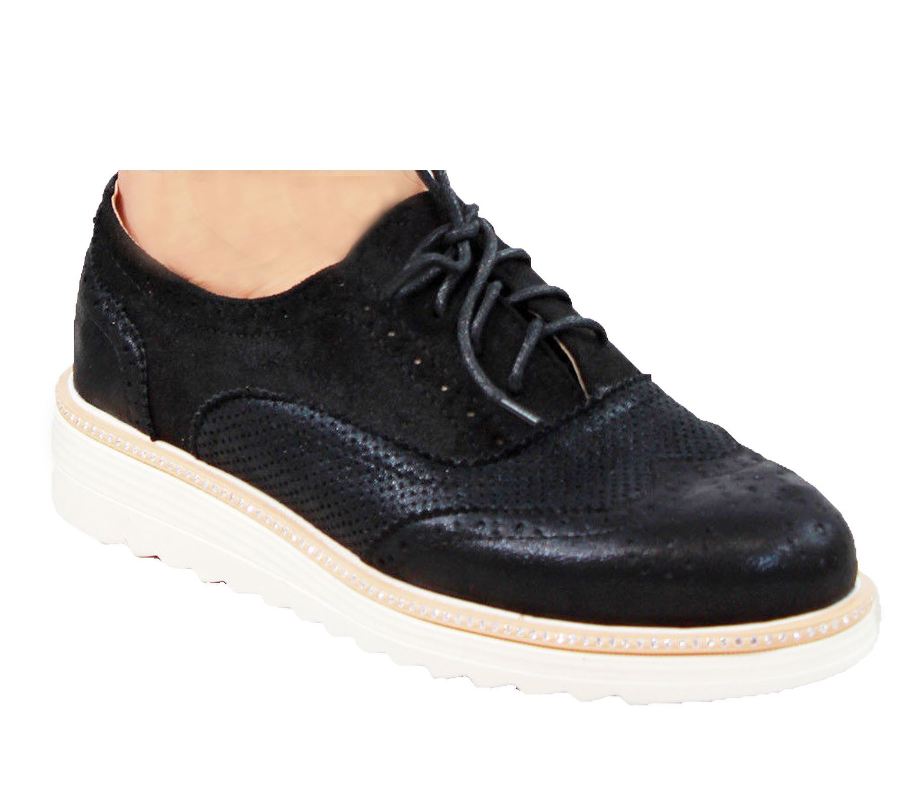 Ladies-Brogue-Lace-Up-Shoes-Womens-Oxford-Smart-Office-Loafers-Shoes miniatura 12