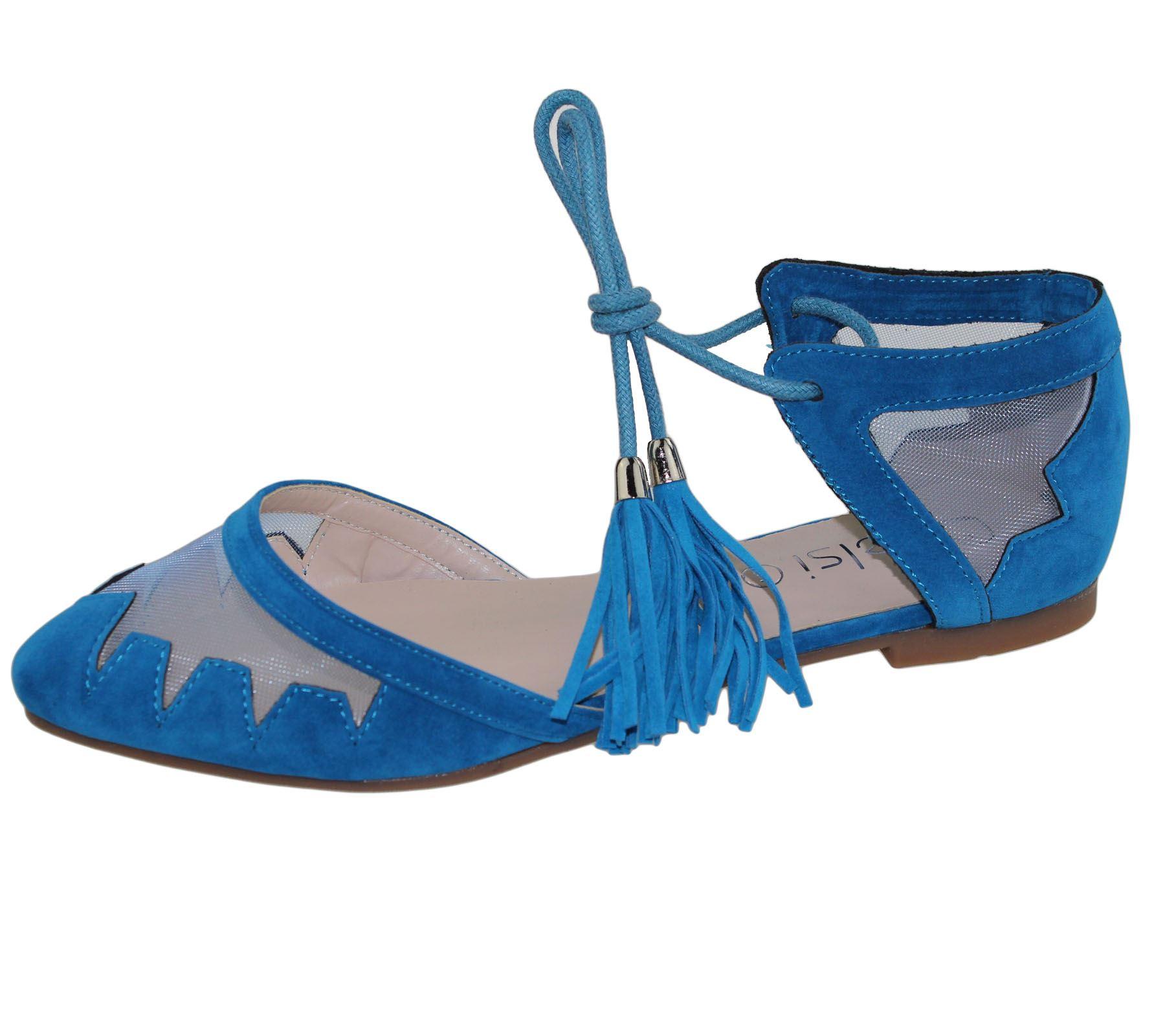 Womens-Flat-Ballerina-Dolly-Pumps-Ballet-Ladies-Summer-Mesh-Tassel-Shoes-Sandals thumbnail 3