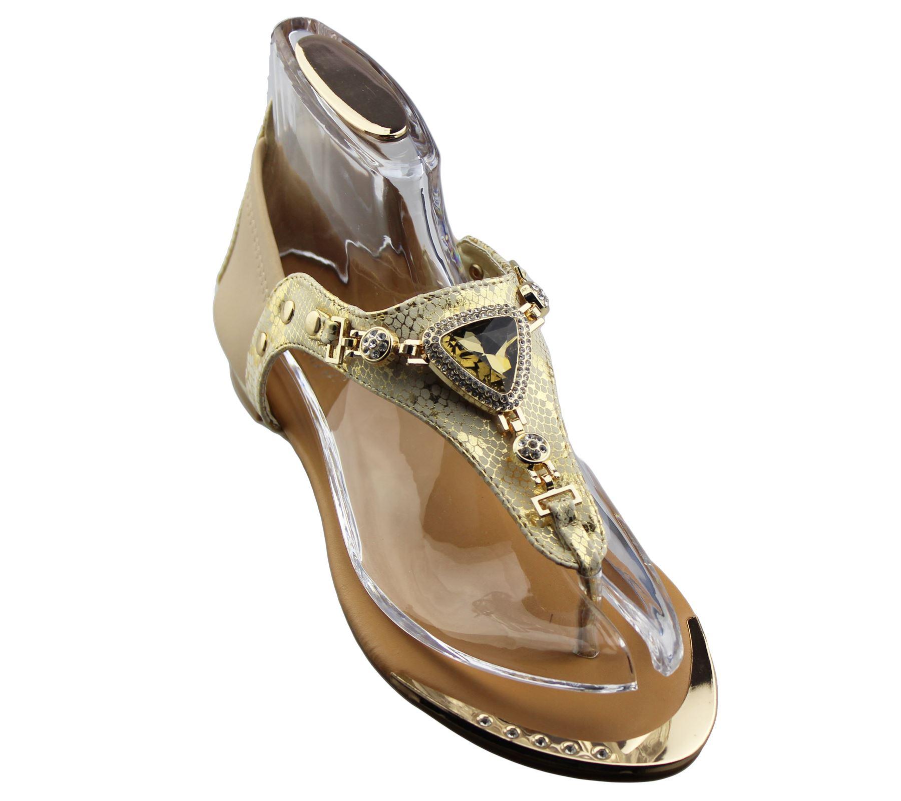 Womens-Flat-Summer-Sandals-Ladies-Diamante-Wedding-Toe-Post-Casual-Slipper thumbnail 16