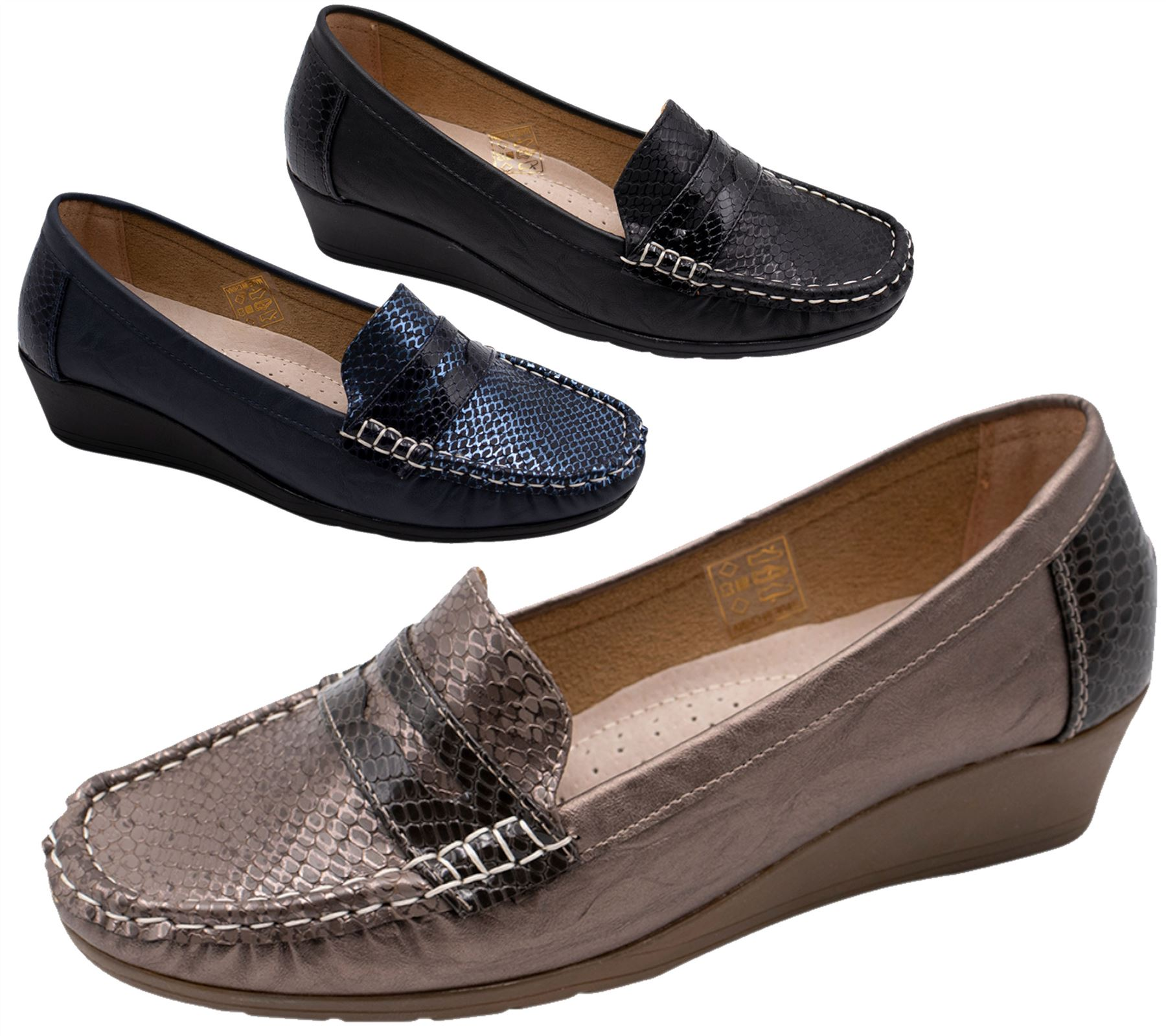 8d7ab57d01271b Details about Womens Wedge Heel Shoes Ladies Pumps Office Work Casual Slip  On Loafer Size