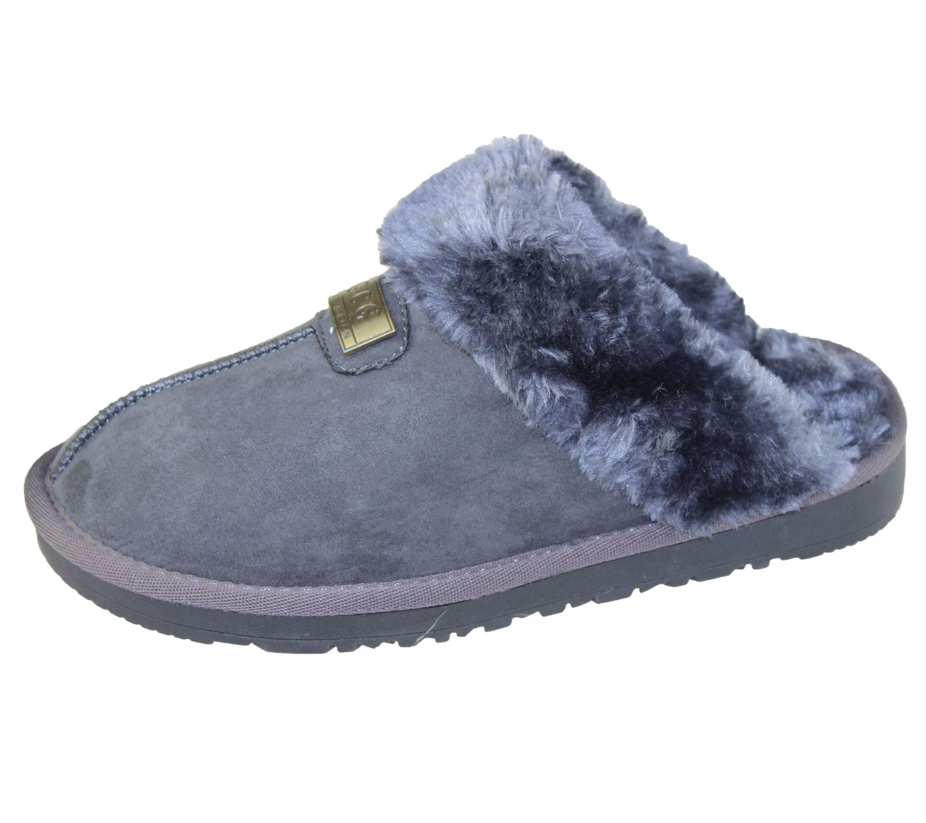 Womens-Fur-Lined-Slippers-Ladies-Mules-Non-Slip-Rubber-Sole-Shoes miniatura 34