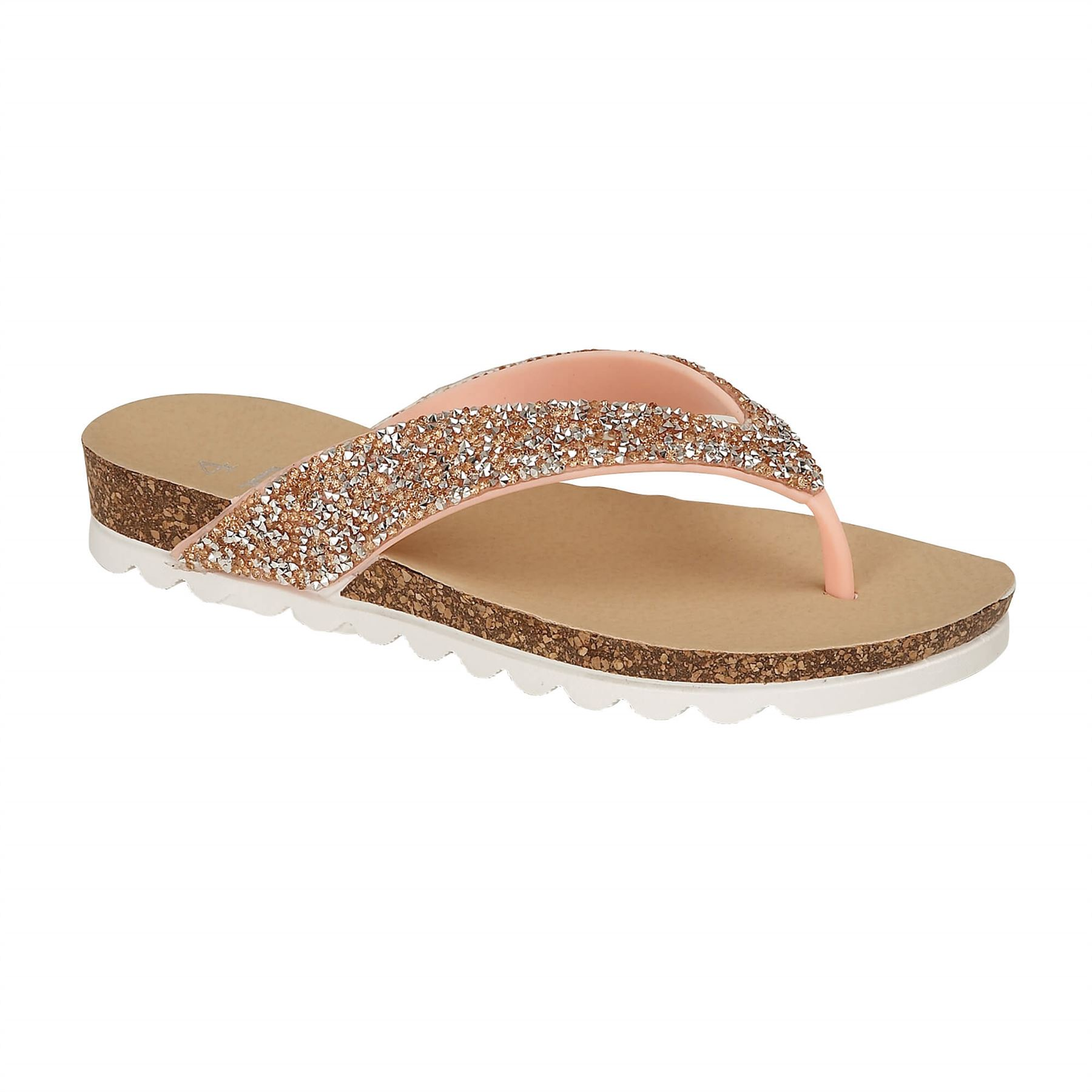 Womens-Casual-Toe-Post-Sparkly-Sandals-Ladies-Summer-Flip-Flops-Sliders-Mules thumbnail 3