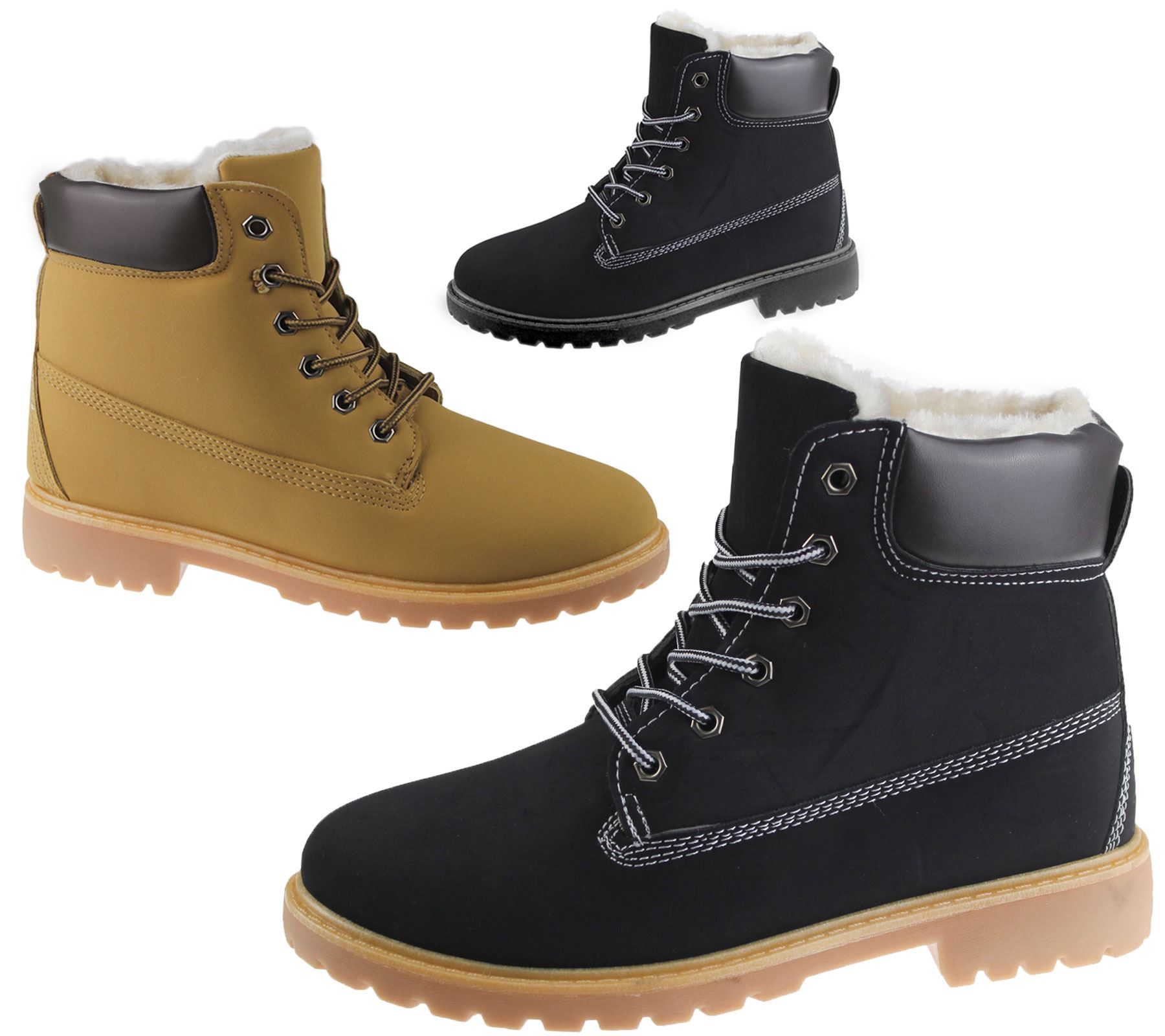 479ae628ae249e Womens Fur Lined Ankle Combat Boots Rubber Grip Sole Ladies Winter Shoes  Size