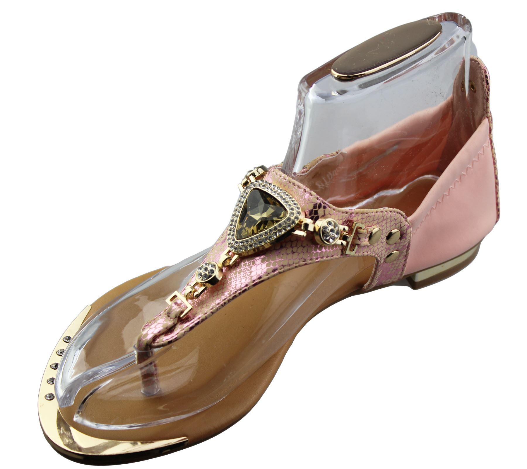 Womens-Flat-Summer-Sandals-Ladies-Diamante-Wedding-Toe-Post-Casual-Slipper thumbnail 29