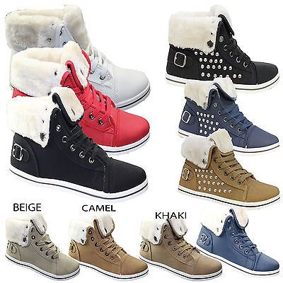 Womens-Trainer-Ladies-Warme-Lined-Ankle-Boots-High-Top-Girls-Pumps-Shoes-Size