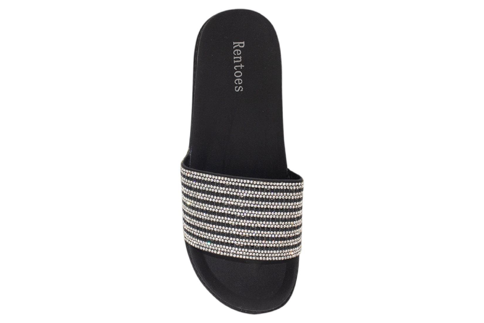Womens-Sliders-Casual-Slippers-Mules-Ladies-Diamante-Flip-Flop-Sandals-Shoes thumbnail 34