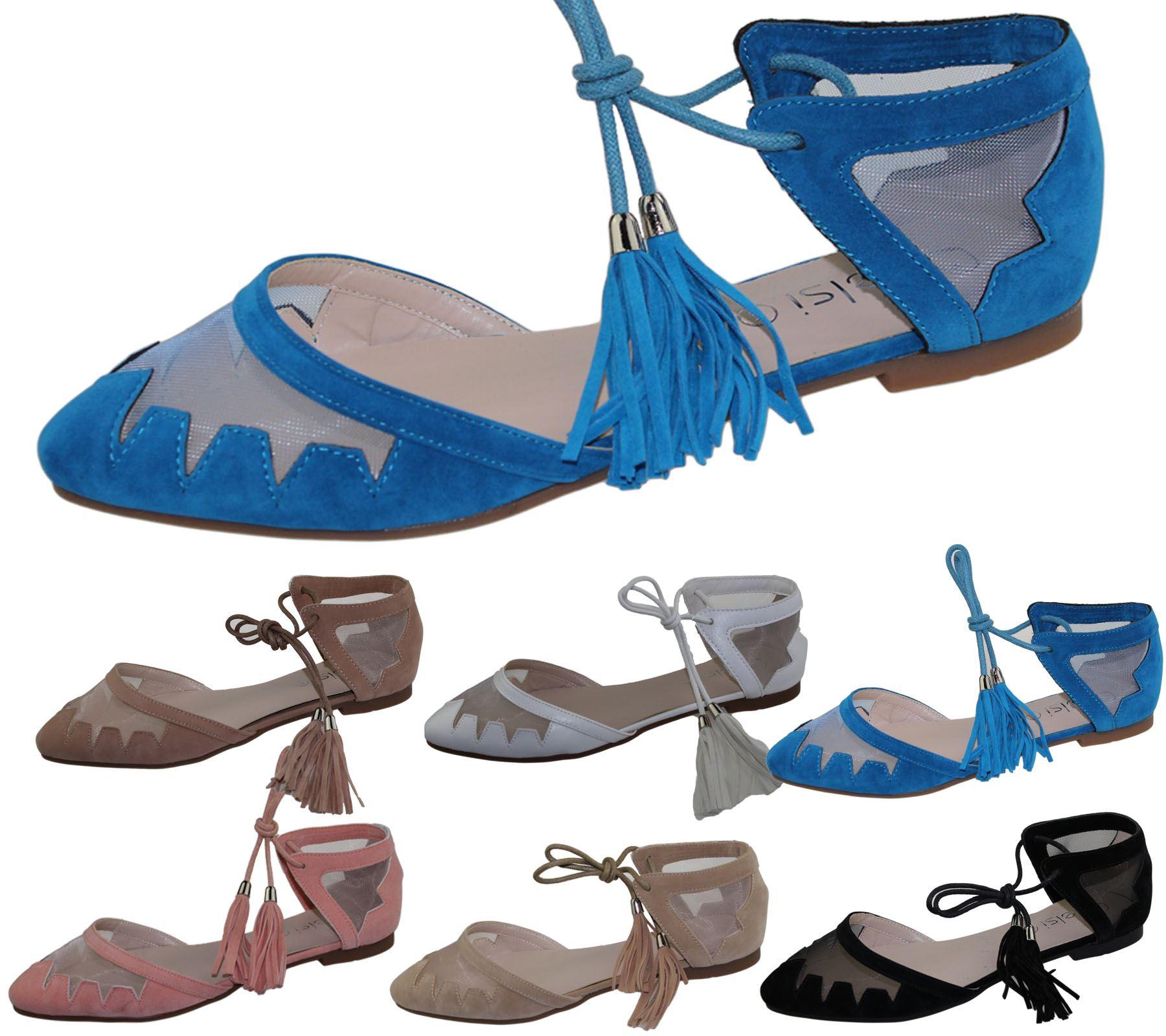 Womens-Flat-Ballerina-Dolly-Pumps-Ballet-Ladies-Summer-Mesh-Tassel-Shoes-Sandals thumbnail 15