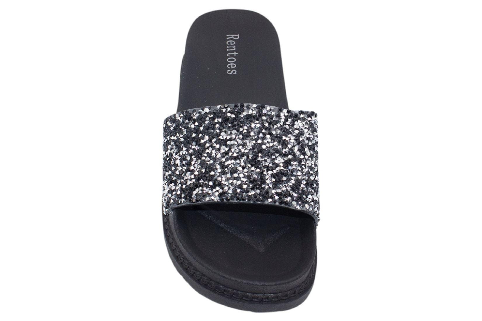 Womens-Sliders-Casual-Slippers-Mules-Ladies-Diamante-Flip-Flop-Sandals-Shoes thumbnail 63
