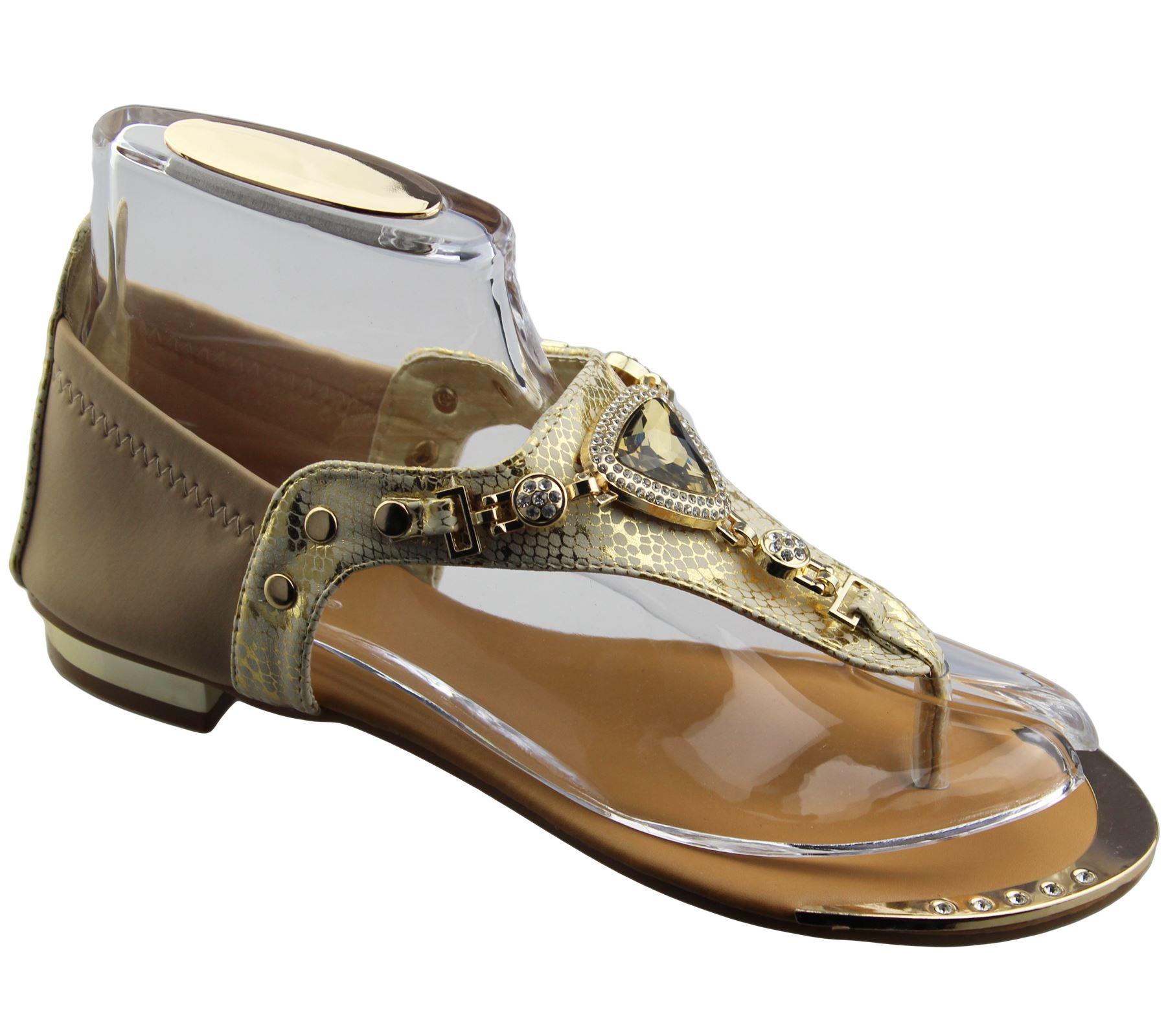 Womens-Flat-Summer-Sandals-Ladies-Diamante-Wedding-Toe-Post-Casual-Slipper thumbnail 21