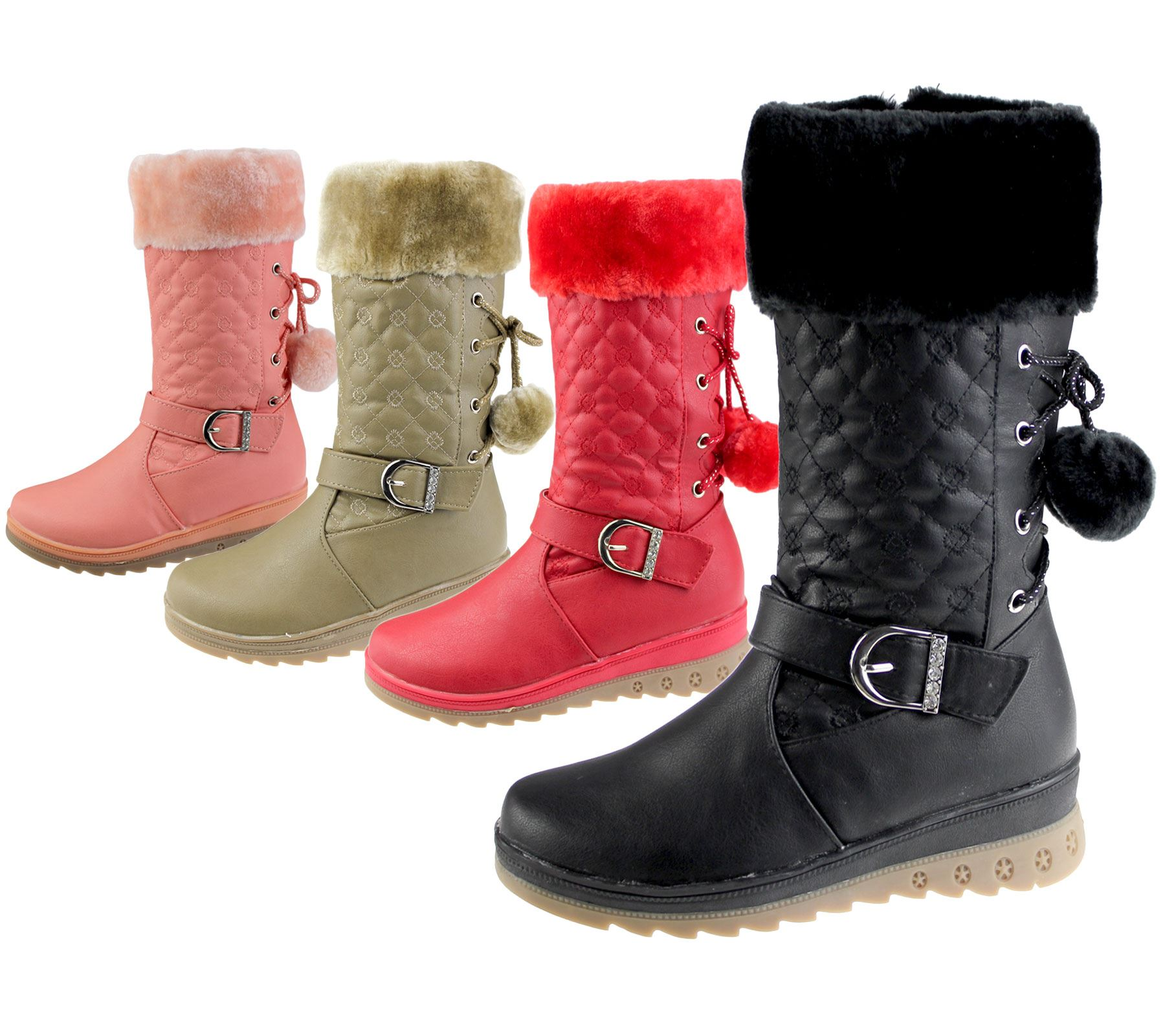 Christmas Boots For Girls.Details About Girls Warm Lined Boots Quilted Winter Warm Christmas High Top School Shoes Size