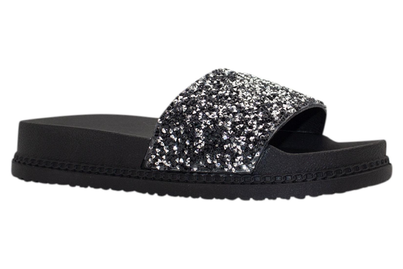 Womens-Sliders-Casual-Slippers-Mules-Ladies-Diamante-Flip-Flop-Sandals-Shoes thumbnail 64