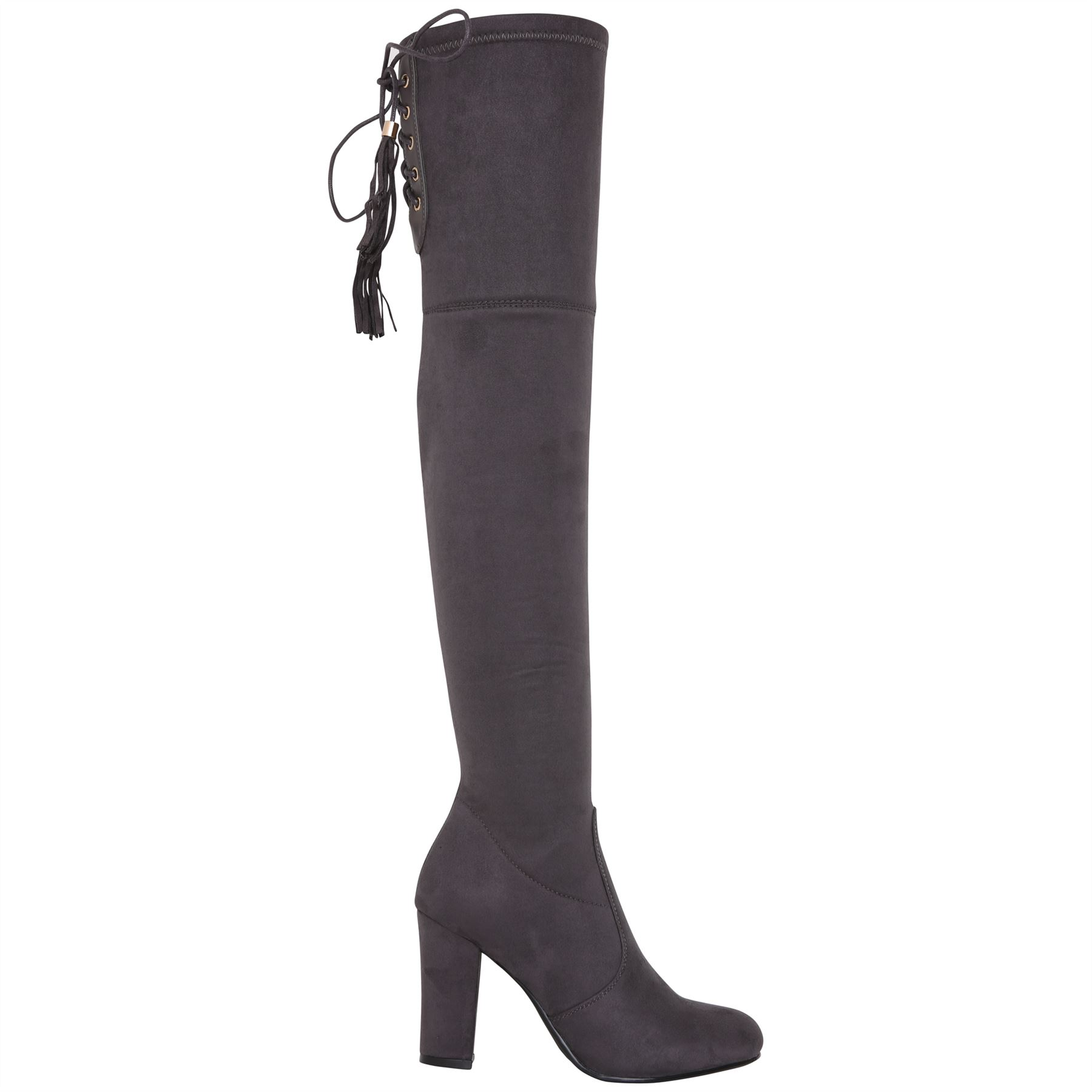 Womens-Over-Knee-High-Boots-Ladies-Low-Block-Heel-Riding-Stretch-Winter-Shoes miniatura 11