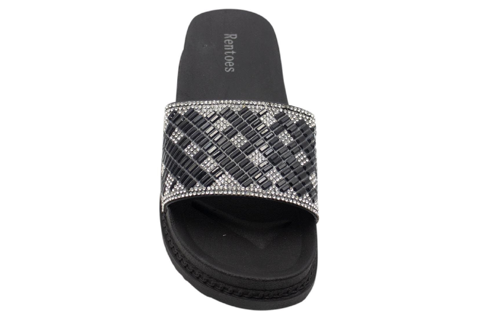 Womens-Sliders-Casual-Slippers-Mules-Ladies-Diamante-Flip-Flop-Sandals-Shoes thumbnail 37