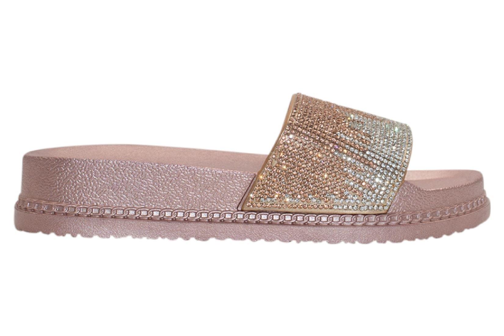 Womens-Sliders-Casual-Slippers-Mules-Ladies-Diamante-Flip-Flop-Sandals-Shoes thumbnail 41