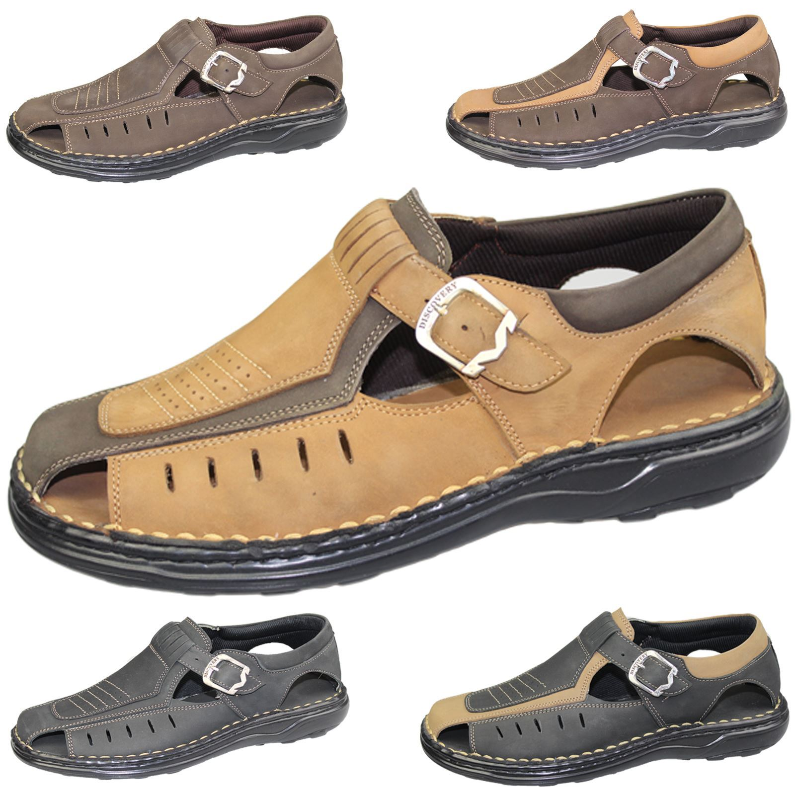 32700bb0126 Details about Mens Buckle Sandals Walking Fashion Casual Summer Beach  Leather Wide Fit Shoes