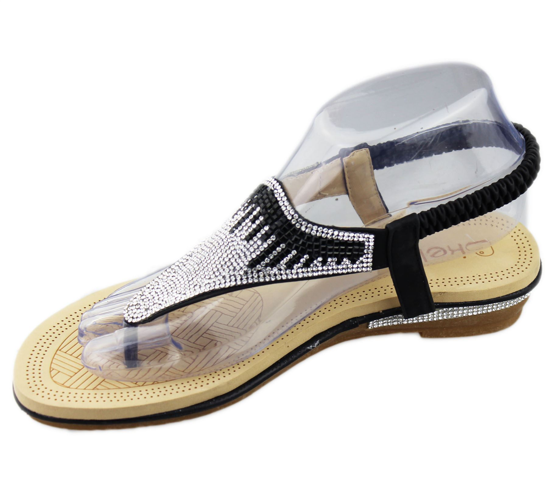 Womens-Flat-Sandals-Ladies-Diamante-Toe-Post-Summer-Wedding-Soft-Sole-Shoes thumbnail 4