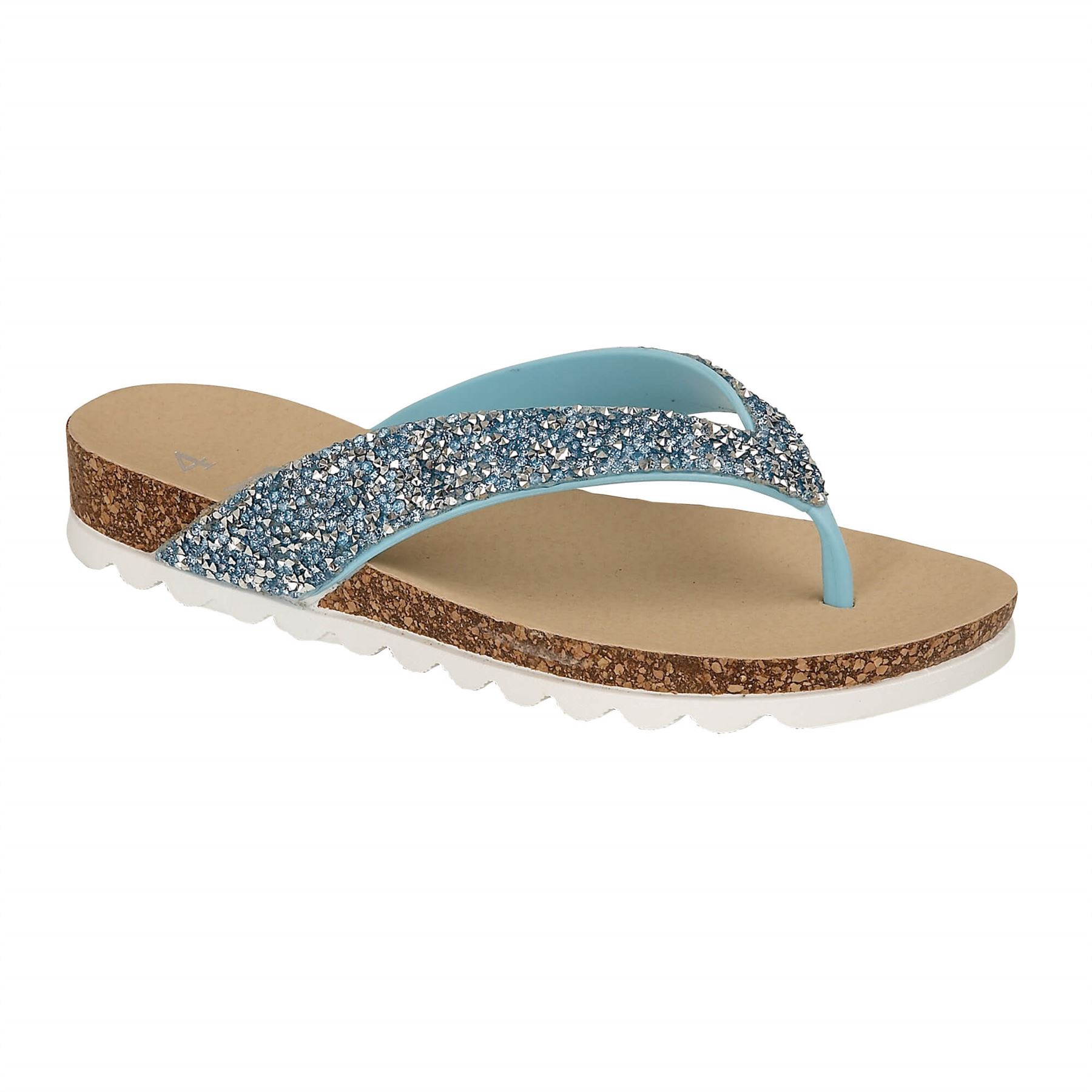 Womens-Casual-Toe-Post-Sparkly-Sandals-Ladies-Summer-Flip-Flops-Sliders-Mules thumbnail 2