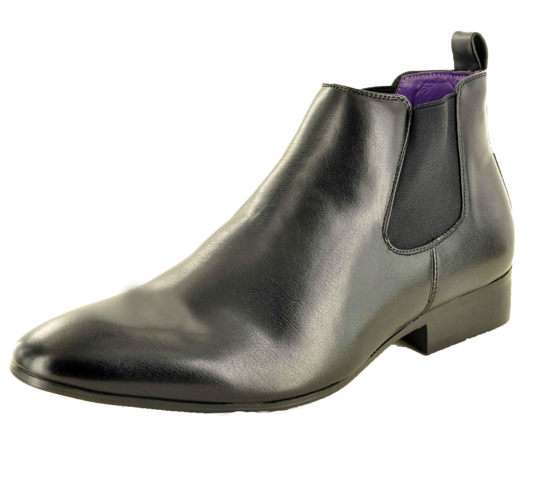 Mens-Chelsea-Boots-High-Top-Gusset-Synthetic-Leather-Shoes thumbnail 4