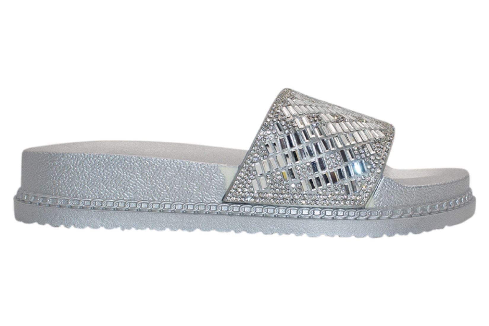 Womens-Sliders-Casual-Slippers-Mules-Ladies-Diamante-Flip-Flop-Sandals-Shoes thumbnail 72