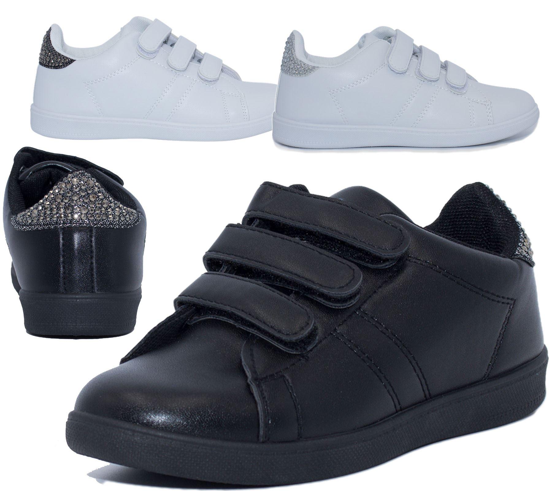 Details zu Schuhe Mädchen Schule Schwarz Trainer Dimente Pe Laufen Leicht Neu Größe