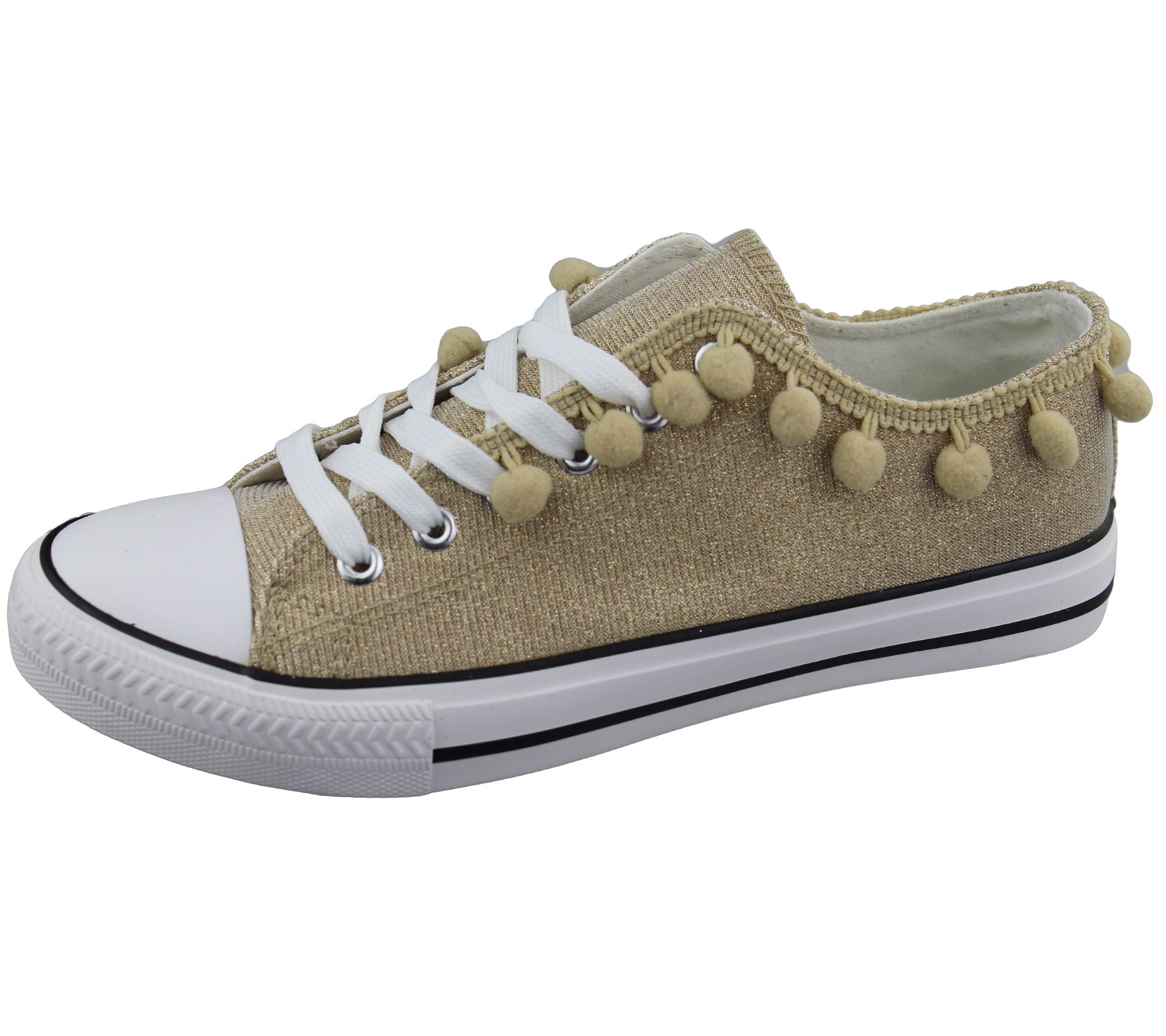 Womens-Sneakers-Flat-Pumps-Ladies-Glittered-Summer-Plimsole-Canvas-Shoes thumbnail 19