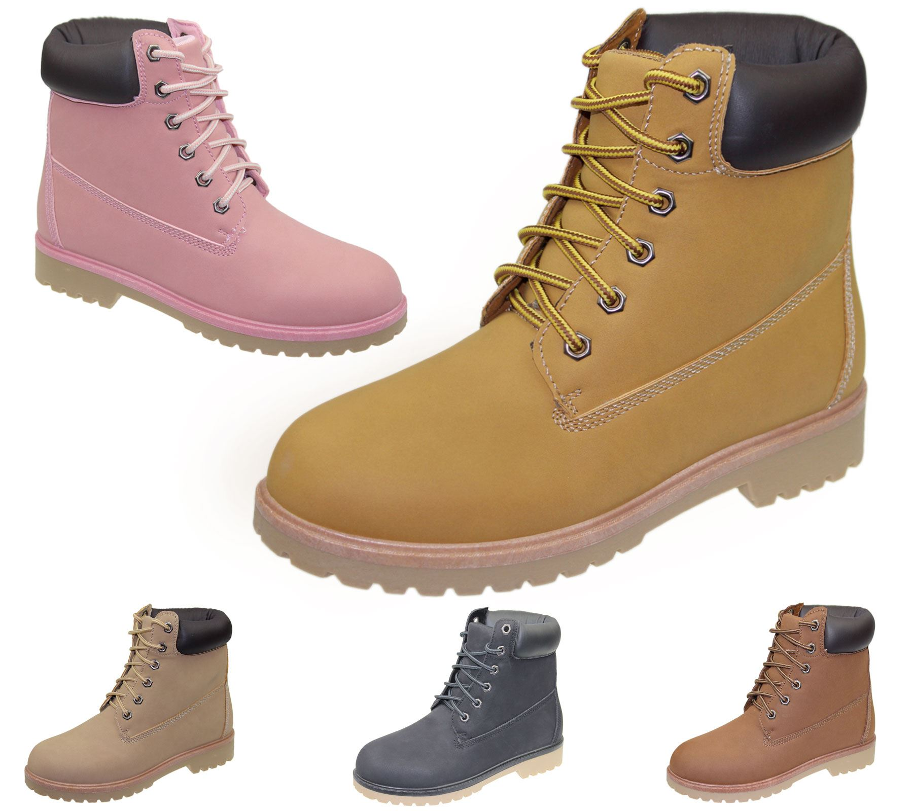 b62fb55a9a1 Details about Womens High Top Boots Hiking Desert Combat Ladies Ankle Work  Biker Shoes Size