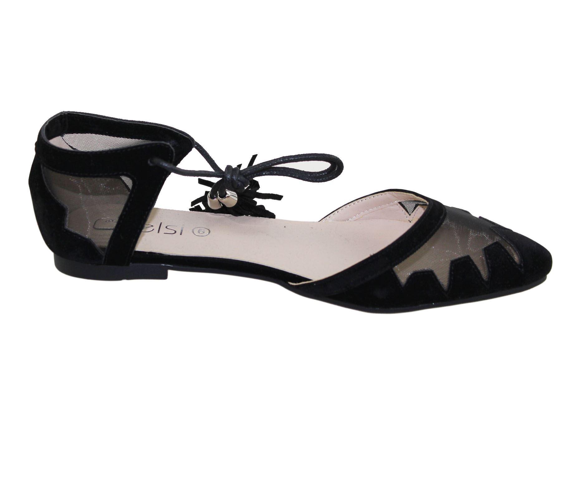 Womens-Flat-Ballerina-Dolly-Pumps-Ballet-Ladies-Summer-Mesh-Tassel-Shoes-Sandals thumbnail 40