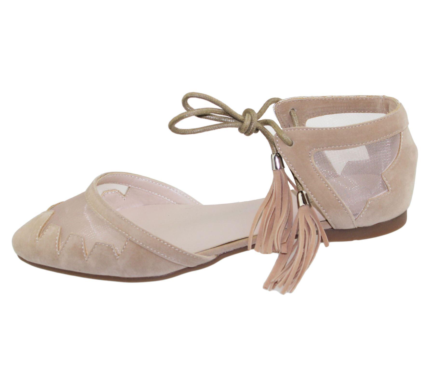Womens-Flat-Ballerina-Dolly-Pumps-Ballet-Ladies-Summer-Mesh-Tassel-Shoes-Sandals thumbnail 9