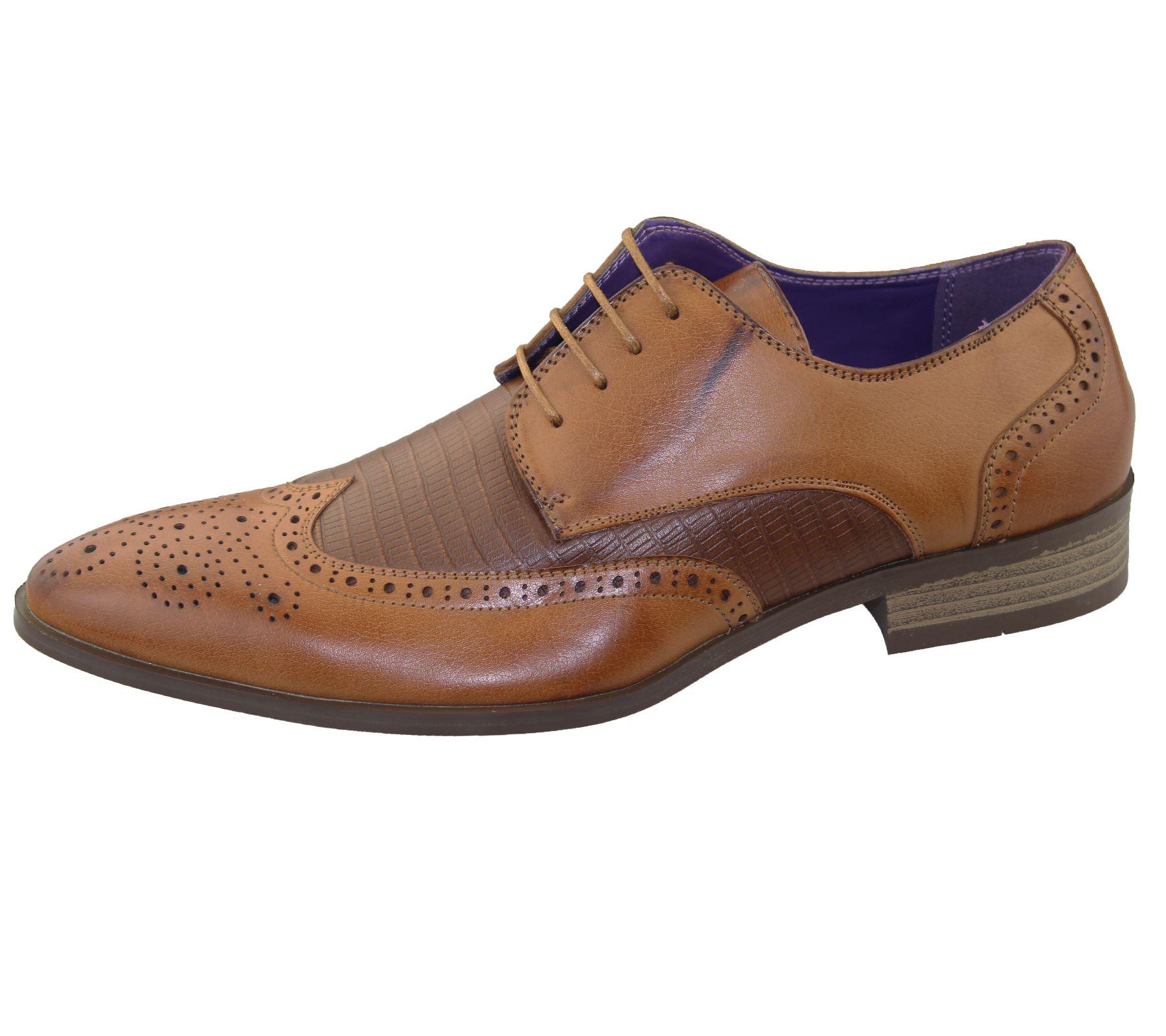 mens brogue shoes office wedding casual formal smart dress