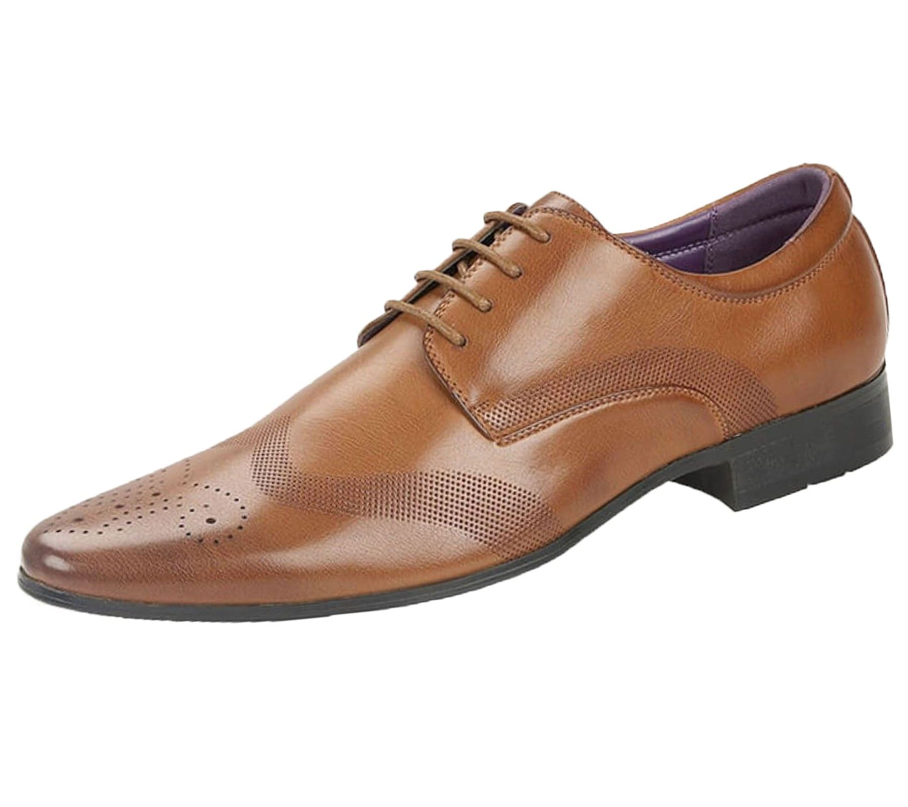 Mens-Brogues-Shoes-Office-Wedding-Formal-Smart-Dress-Shoes-New-Size miniatura 23
