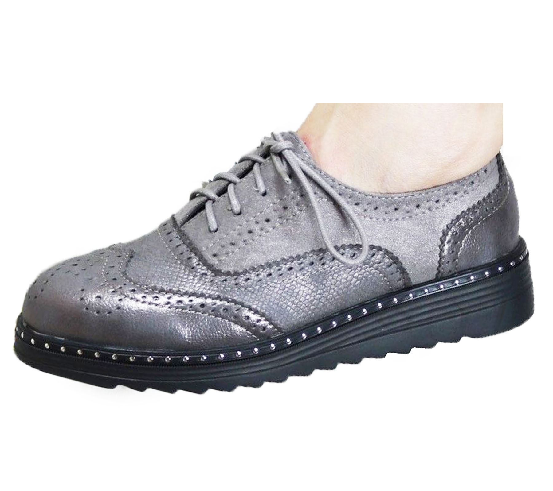 Ladies-Brogue-Lace-Up-Shoes-Womens-Oxford-Smart-Office-Loafers-Shoes miniatura 19