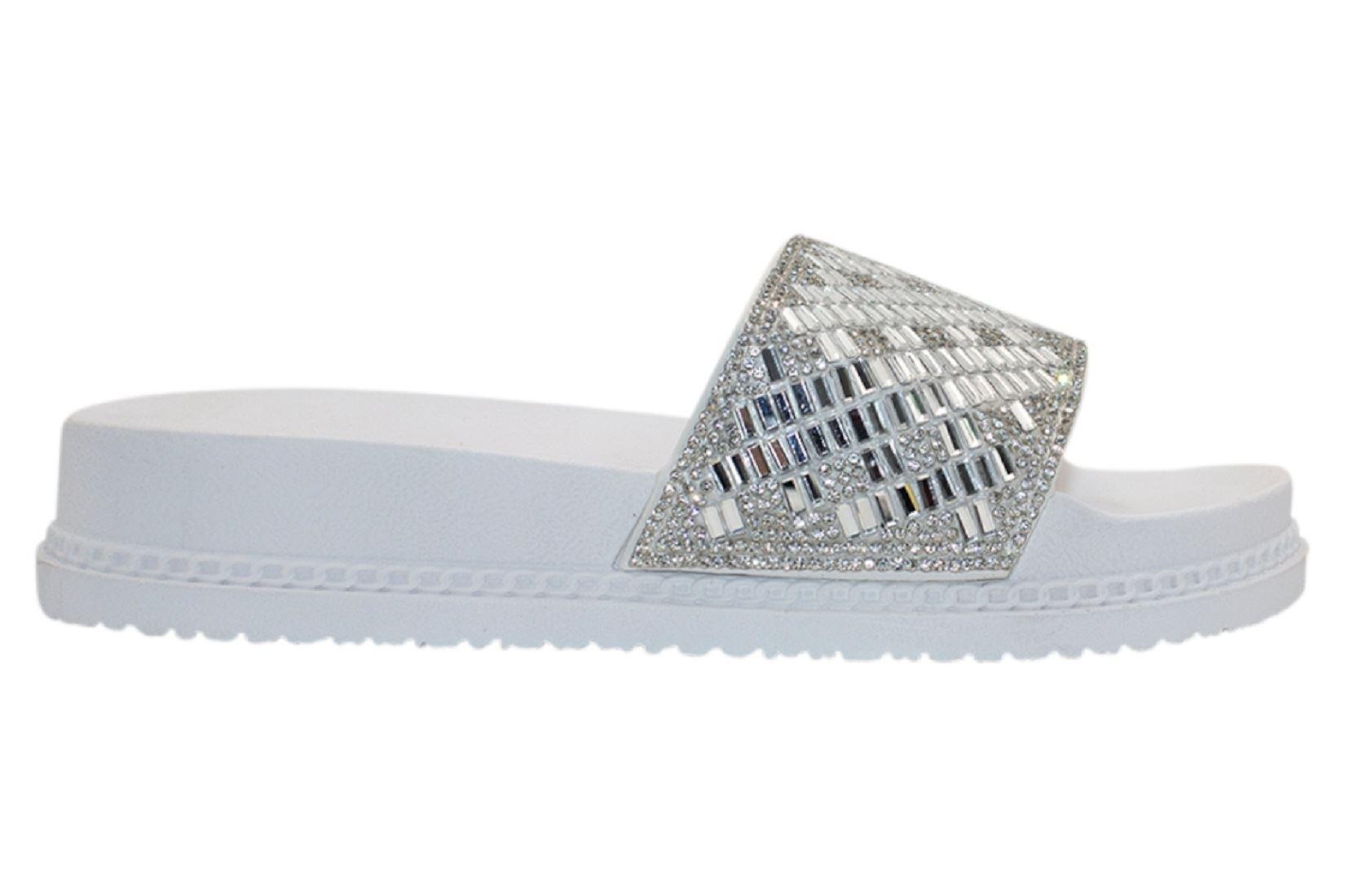 Womens-Sliders-Casual-Slippers-Mules-Ladies-Diamante-Flip-Flop-Sandals-Shoes thumbnail 92