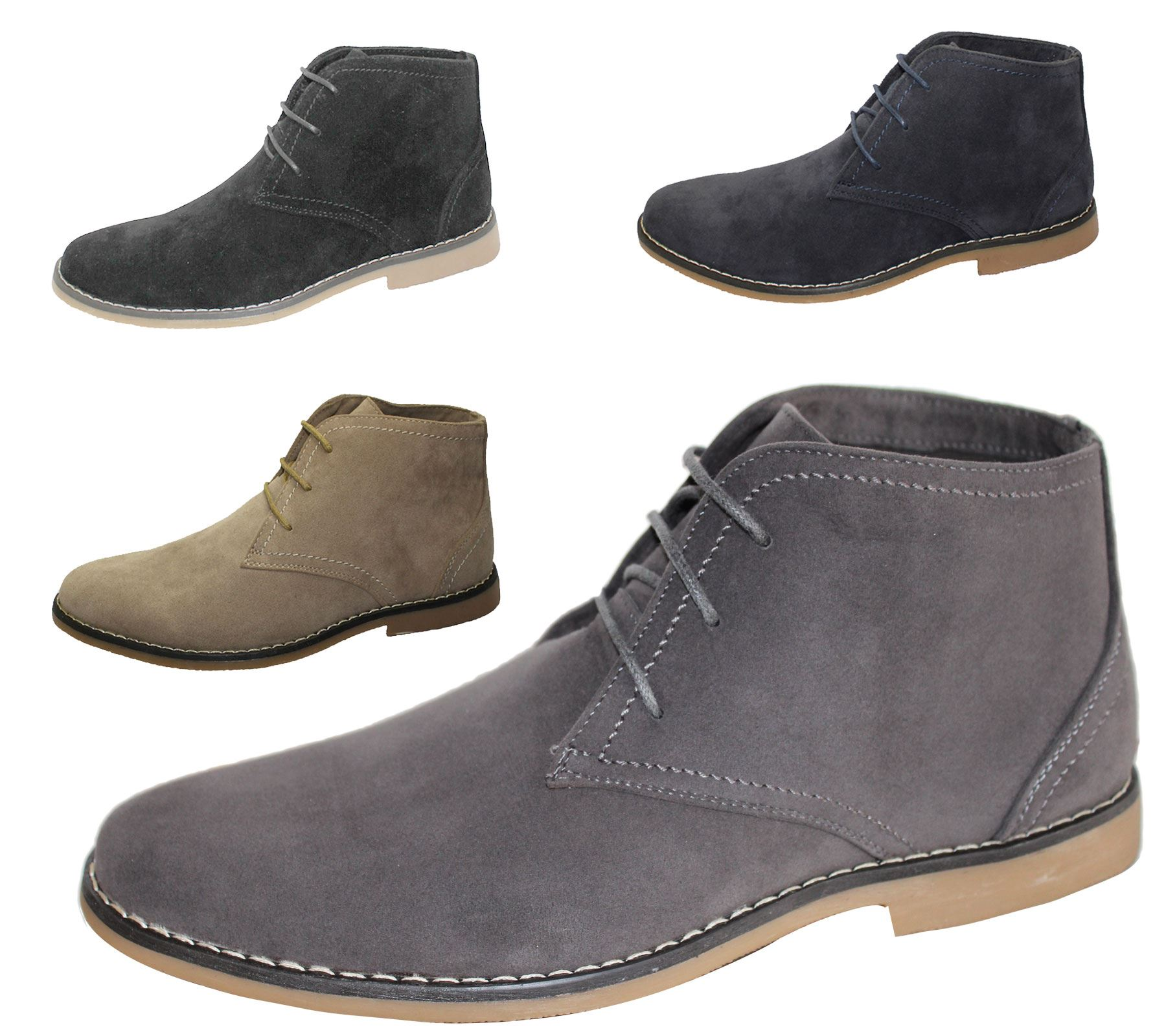 Mens Synthetic Suede Desert Boots Casual Lace Up Winter Ankle Classic Shoes  Size