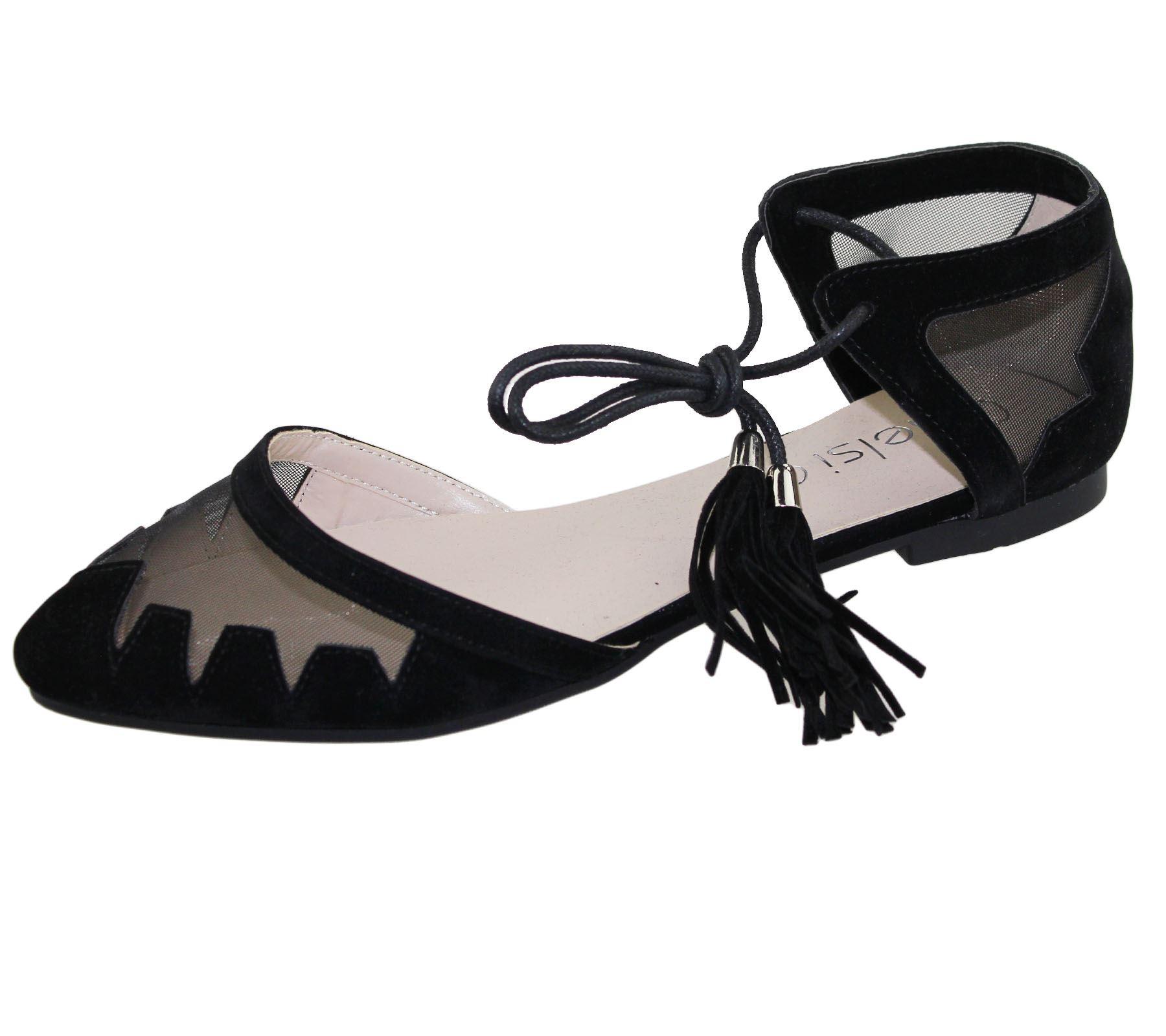 Womens-Flat-Ballerina-Dolly-Pumps-Ballet-Ladies-Summer-Mesh-Tassel-Shoes-Sandals thumbnail 38