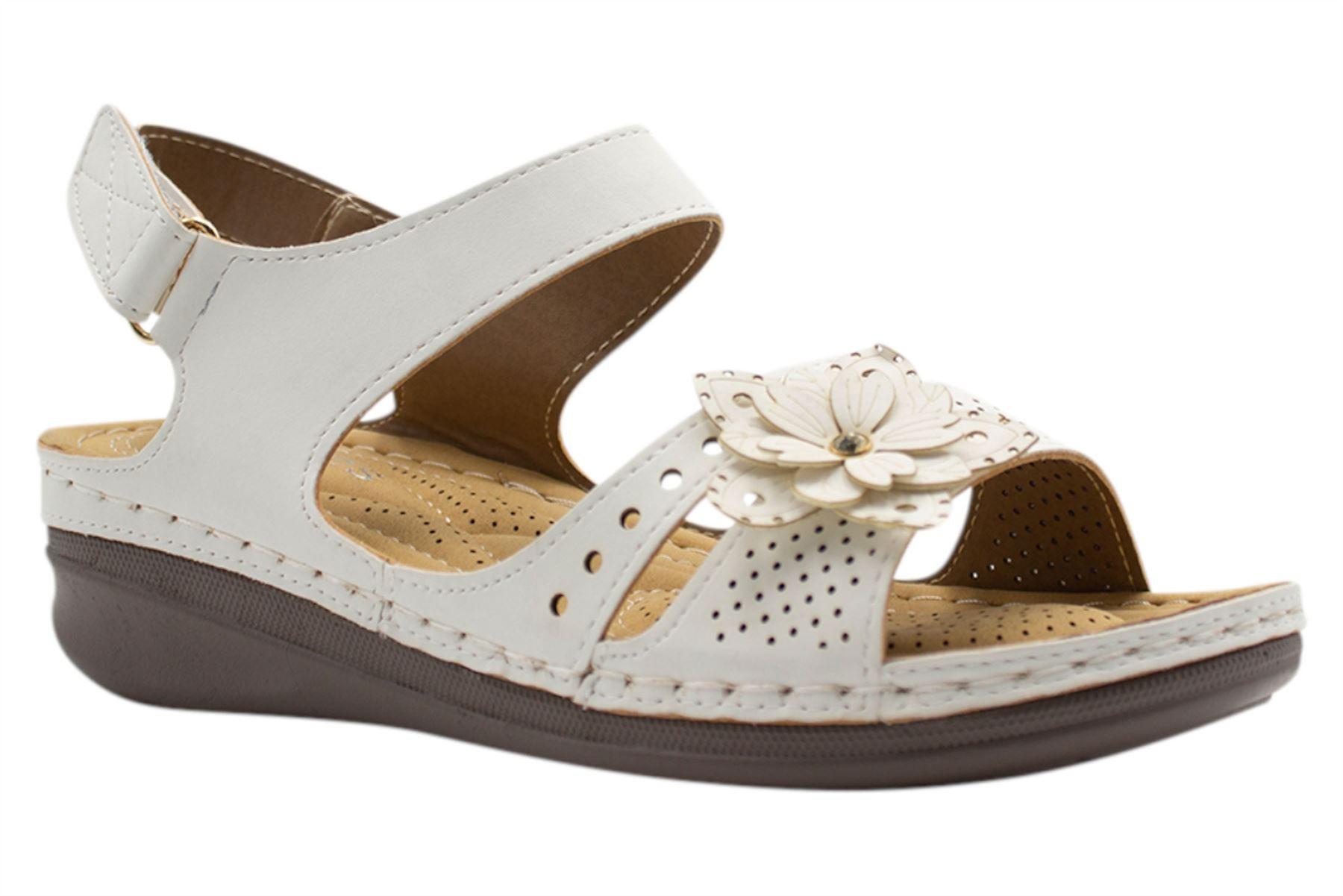 Ladies-Wedge-Heel-Sandal-Womens-Comfort-Cushion-Strapy-Summer-Shoes miniatura 41