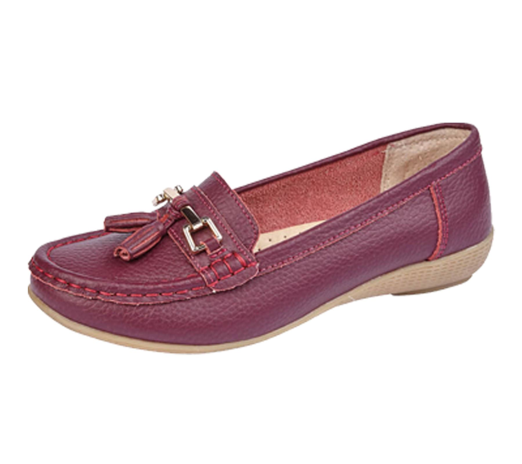 Womens Ladies Shoes Tassel Wi9d2ehy Loafer Plimsole Flat Pumps Leather XOPikZu