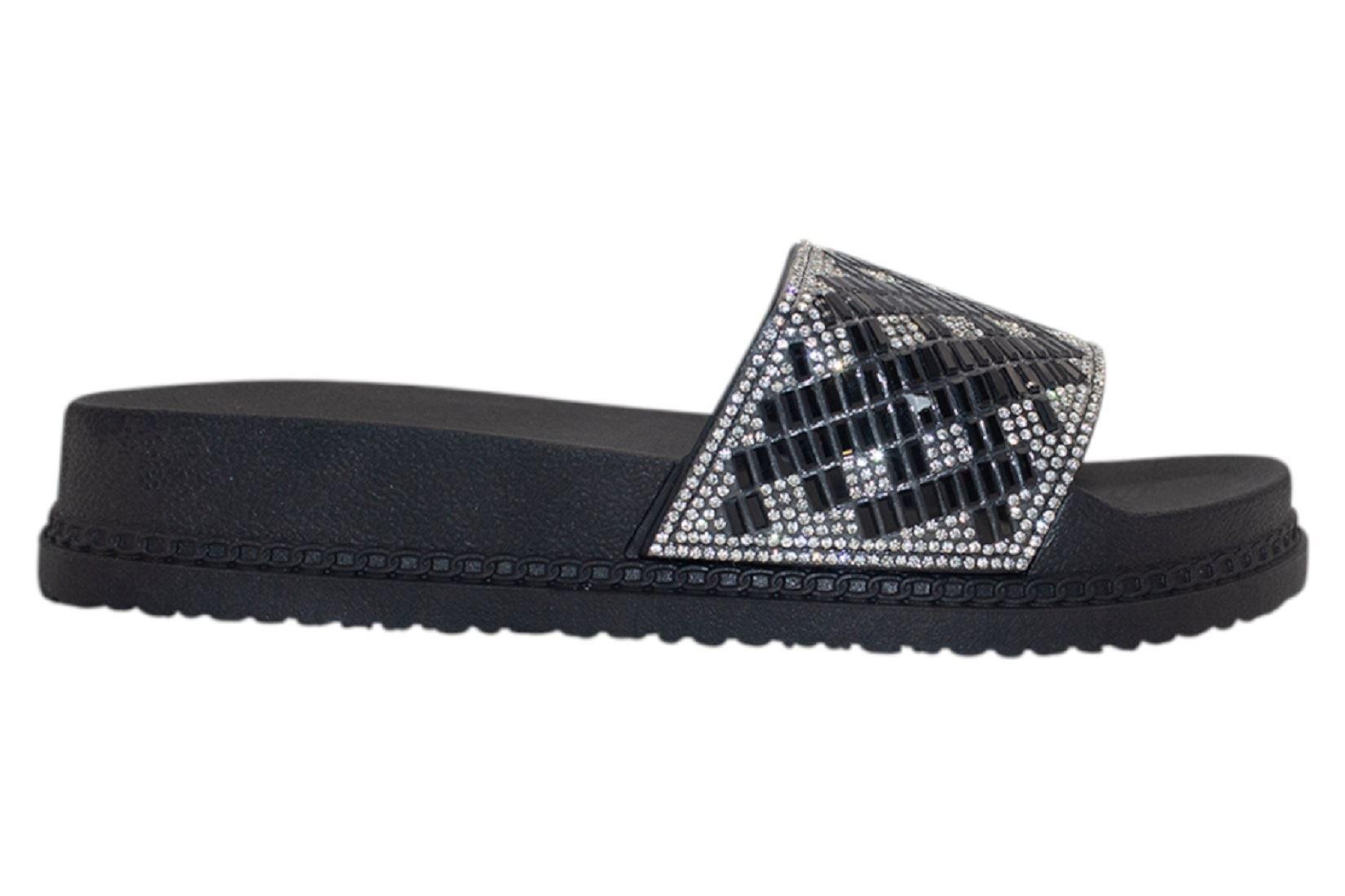 Womens-Sliders-Casual-Slippers-Mules-Ladies-Diamante-Flip-Flop-Sandals-Shoes thumbnail 12