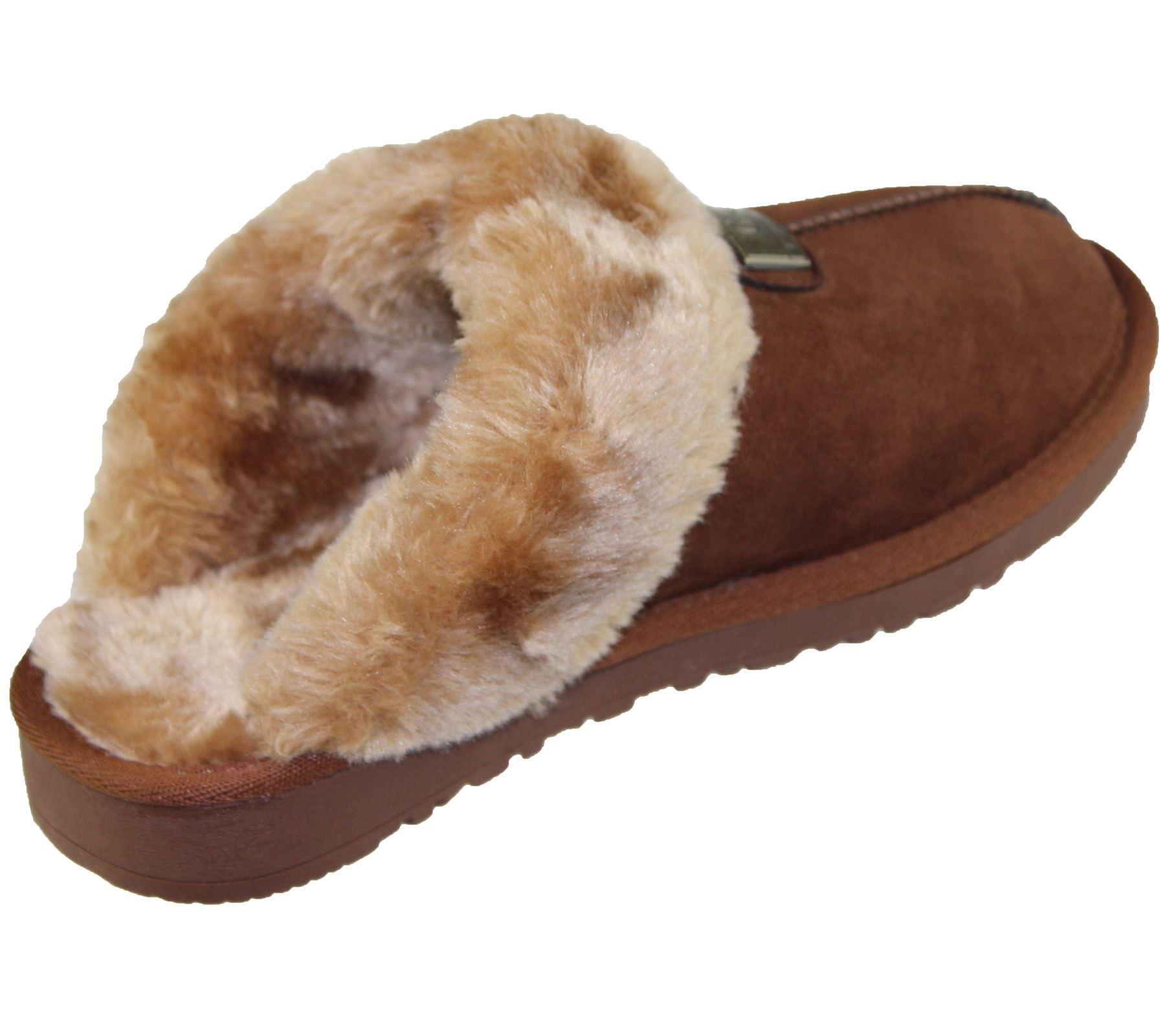 Womens-Fur-Lined-Slippers-Ladies-Mules-Non-Slip-Rubber-Sole-Shoes miniatura 10