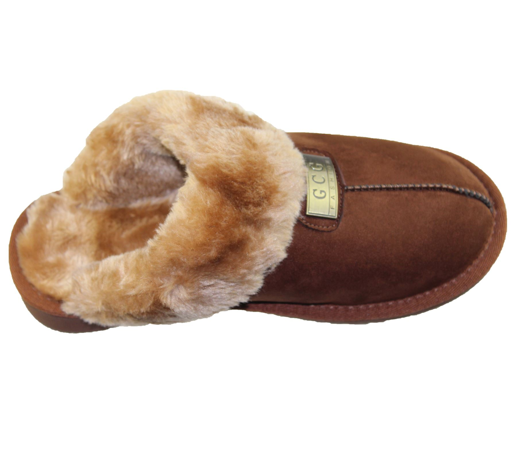 Womens-Fur-Lined-Slippers-Ladies-Mules-Non-Slip-Rubber-Sole-Shoes miniatura 12