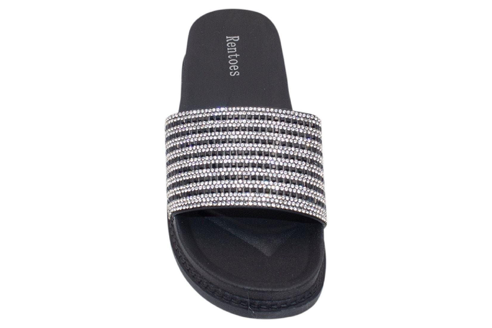 Womens-Sliders-Casual-Slippers-Mules-Ladies-Diamante-Flip-Flop-Sandals-Shoes thumbnail 88