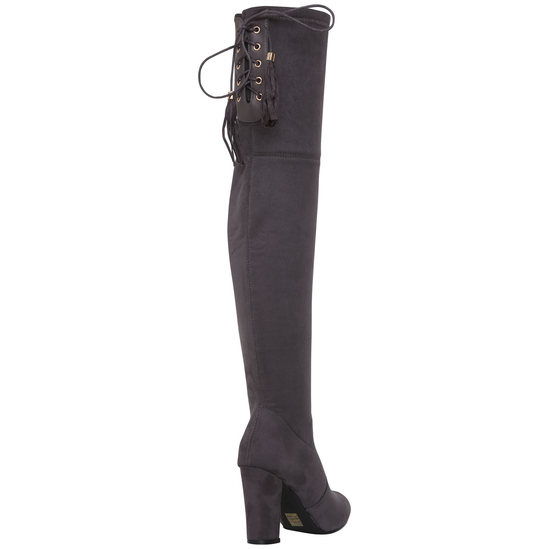 Womens-Over-Knee-High-Boots-Ladies-Low-Block-Heel-Riding-Stretch-Winter-Shoes miniatura 10