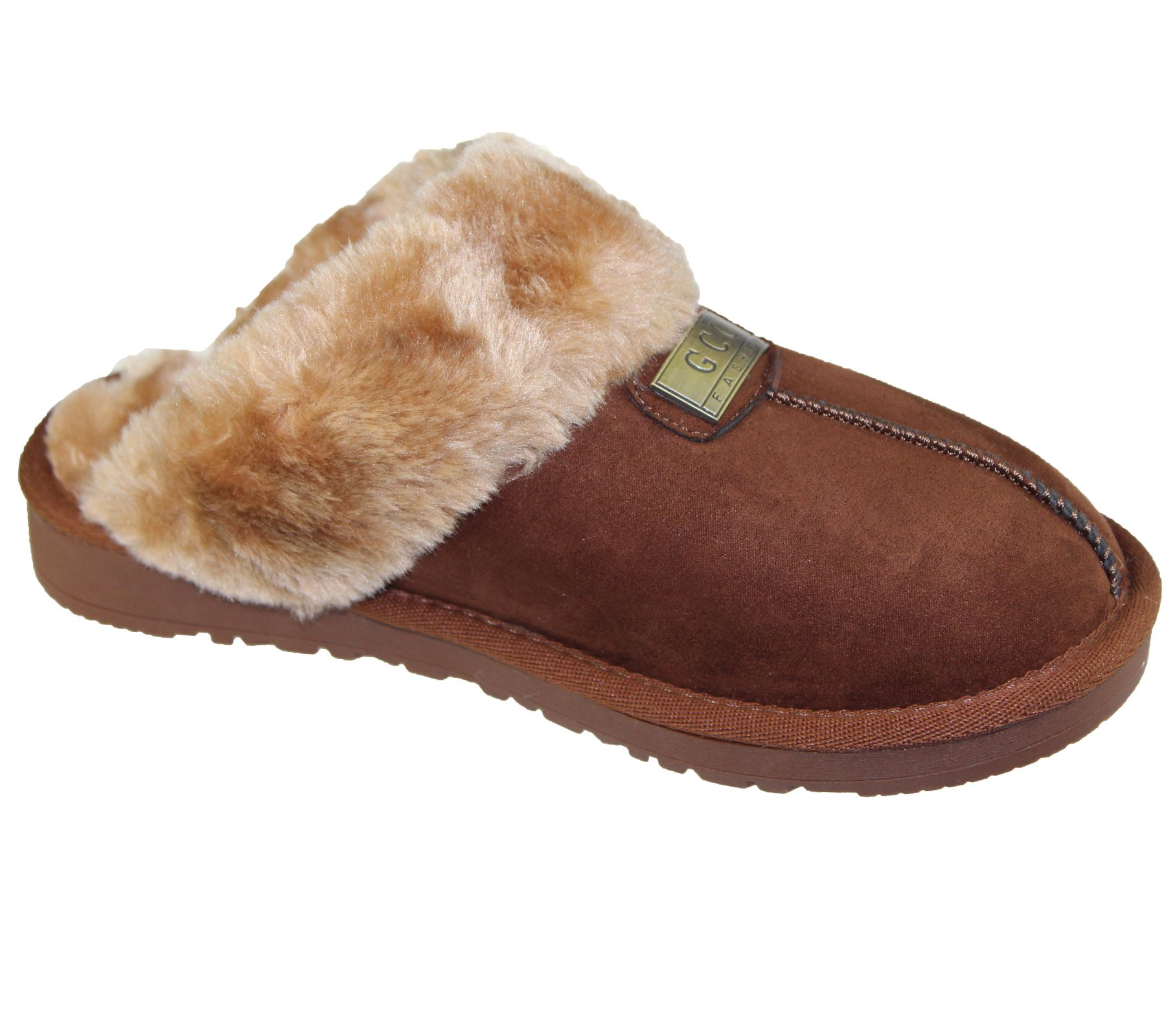 Womens-Fur-Lined-Slippers-Ladies-Mules-Non-Slip-Rubber-Sole-Shoes miniatura 13