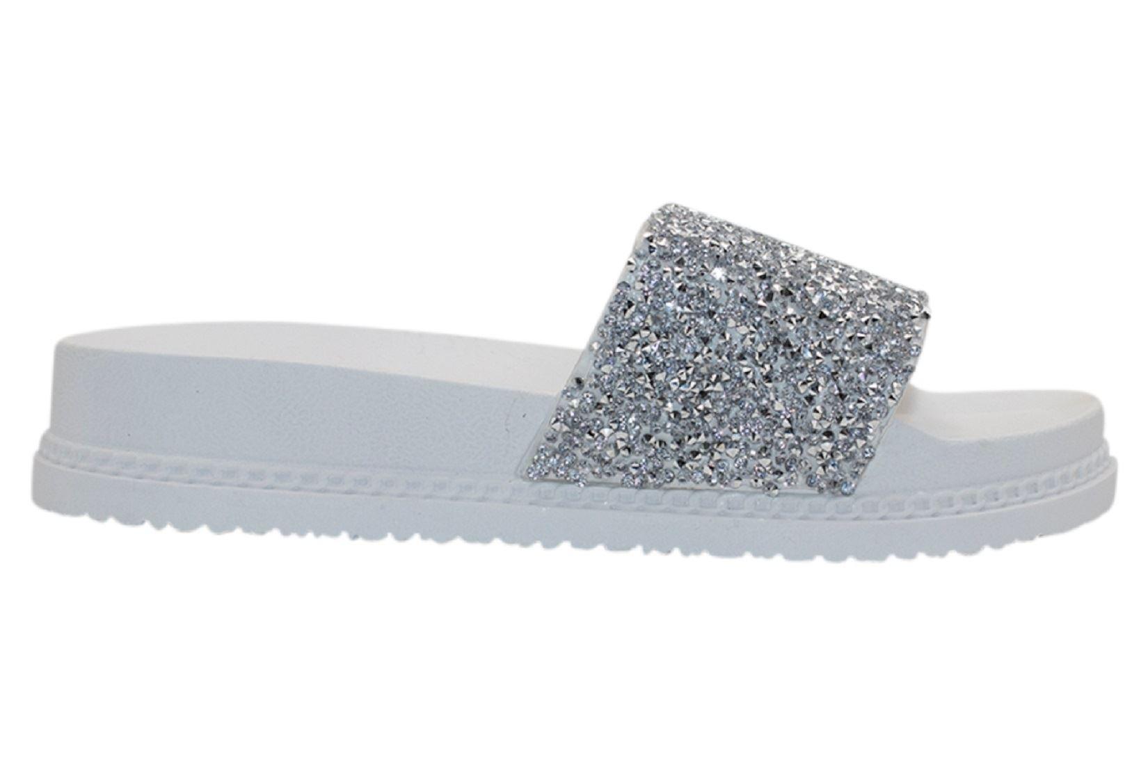 Womens-Sliders-Casual-Slippers-Mules-Ladies-Diamante-Flip-Flop-Sandals-Shoes thumbnail 82