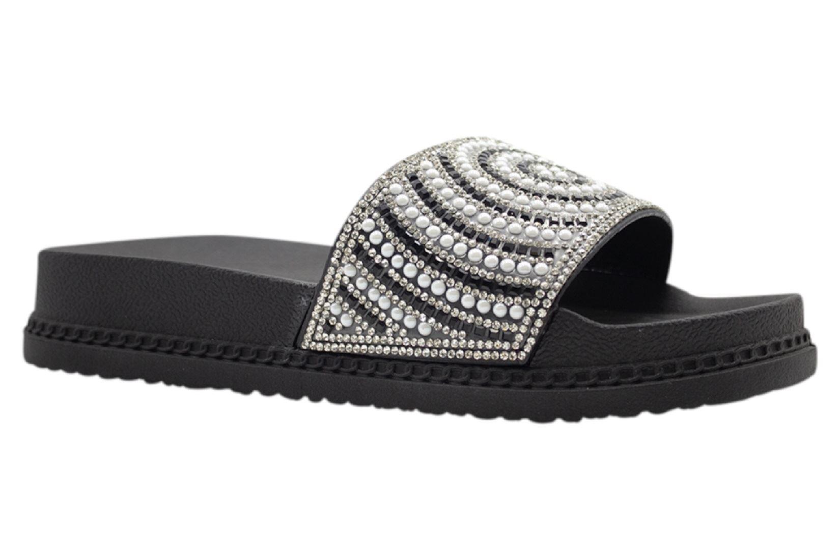 Womens-Sliders-Casual-Slippers-Mules-Ladies-Diamante-Flip-Flop-Sandals-Shoes thumbnail 47