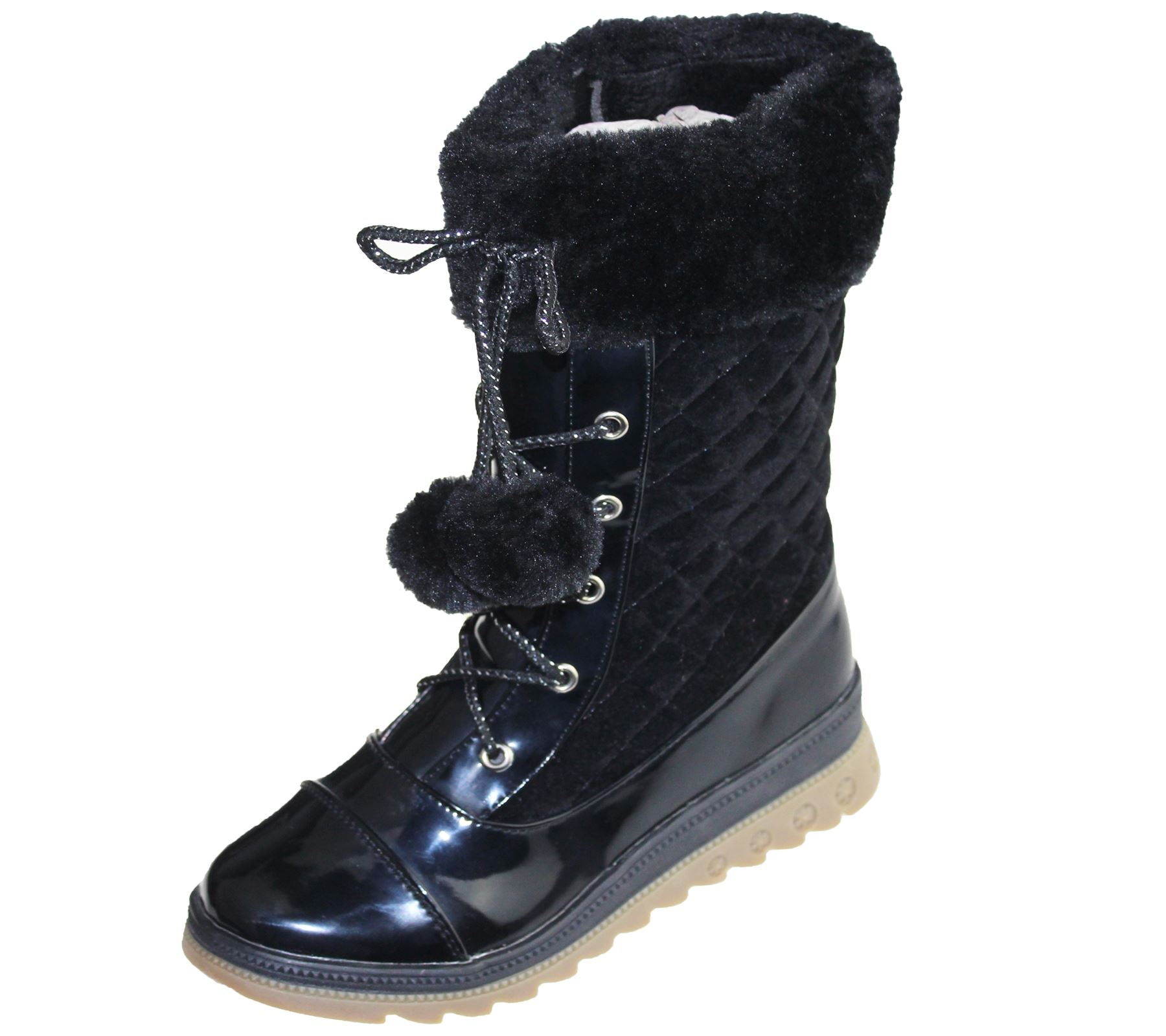Christmas Boots For Girls.Details About Girls Warm Linned Boots Pom Pom Winter Christmas High Top Quilted Ankle Shoes