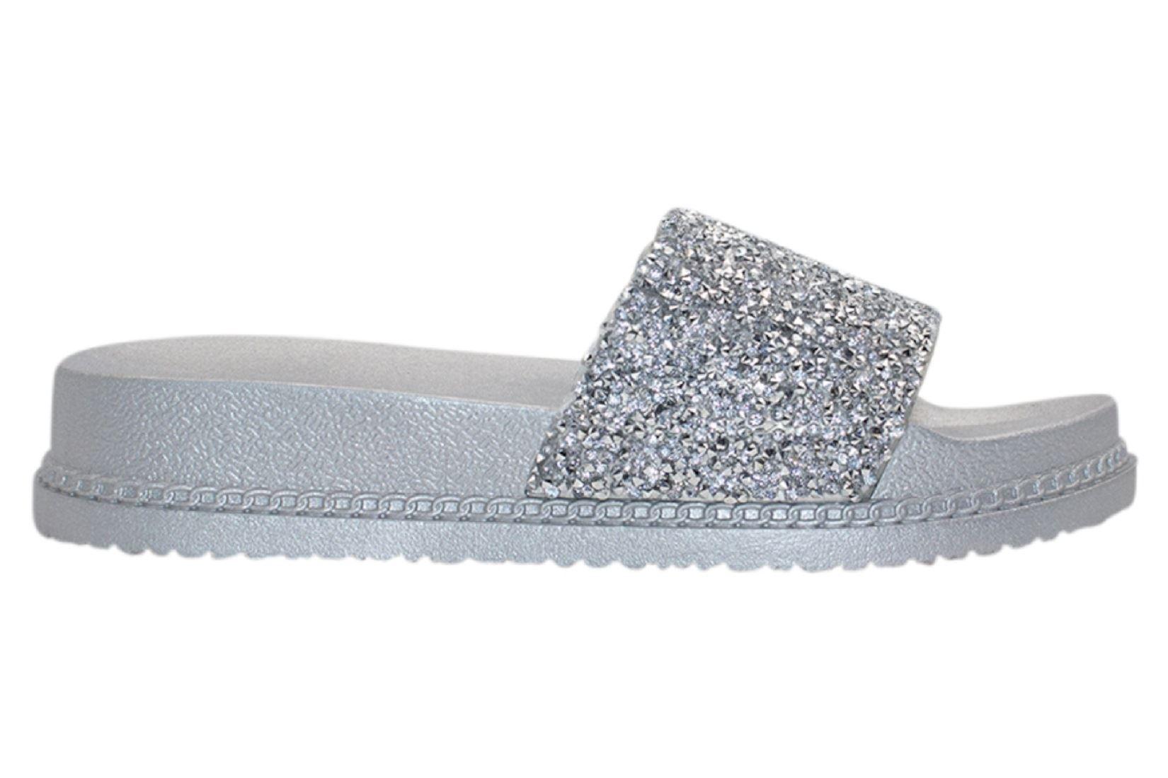 Womens-Sliders-Casual-Slippers-Mules-Ladies-Diamante-Flip-Flop-Sandals-Shoes thumbnail 62