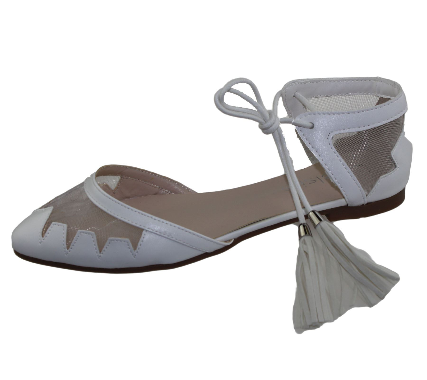 Womens-Flat-Ballerina-Dolly-Pumps-Ballet-Ladies-Summer-Mesh-Tassel-Shoes-Sandals thumbnail 19