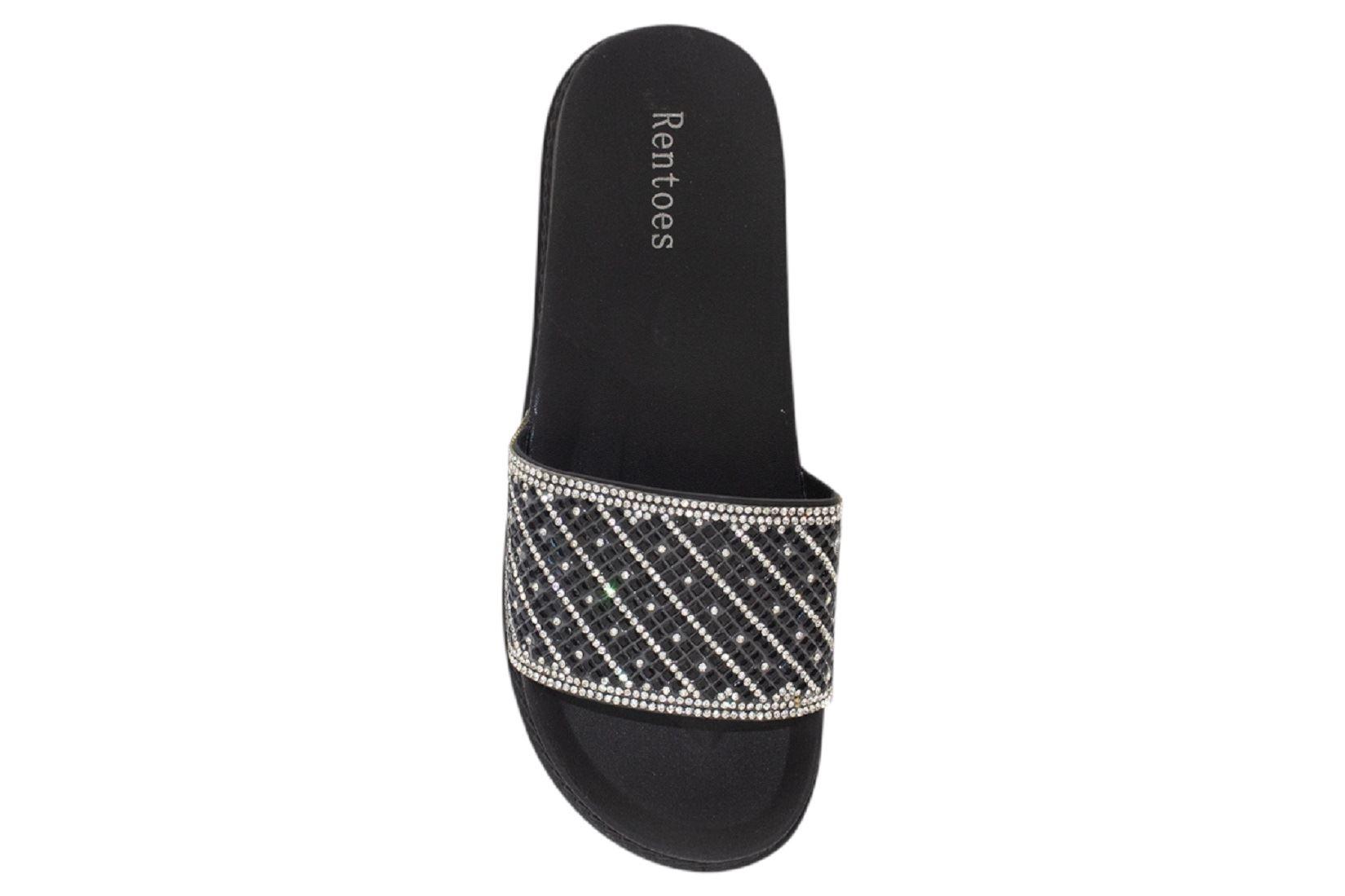 Womens-Sliders-Casual-Slippers-Mules-Ladies-Diamante-Flip-Flop-Sandals-Shoes thumbnail 4