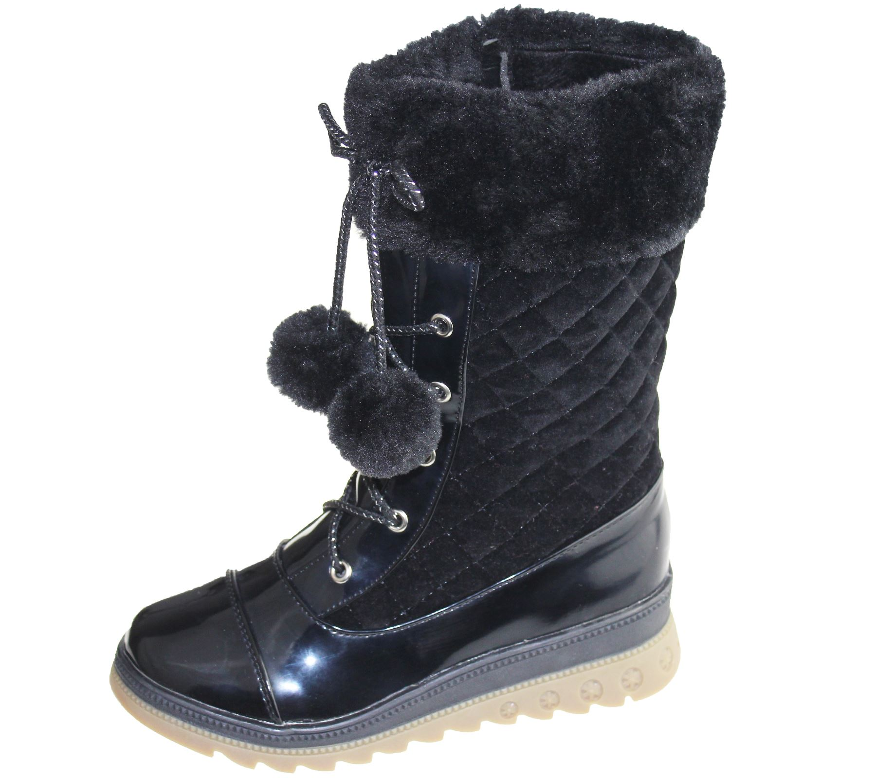 Girls Warm Lined Boots Quilted Winter Warm Christmas High Top School ... fdeb5eaacfd8